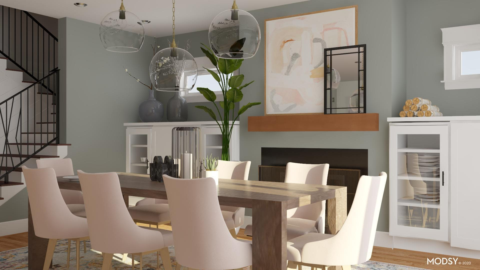 Contemporary + Pastels Tones Dining Room!