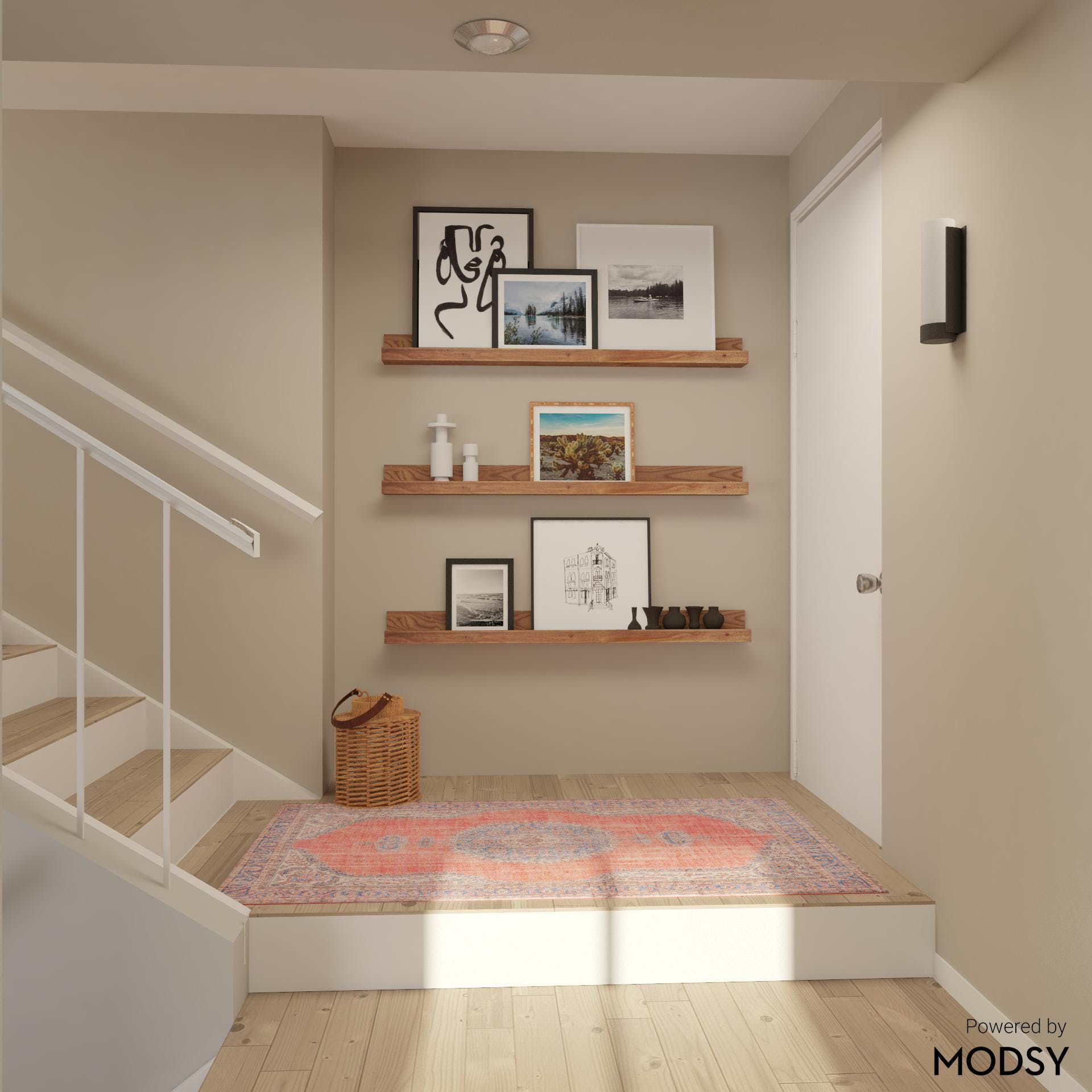 Transitional Style Entryway with Floating Shelves