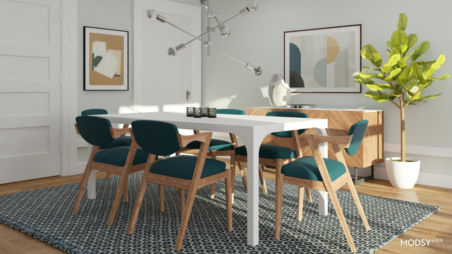 Emerald Accents In A Contemporary Dining Room