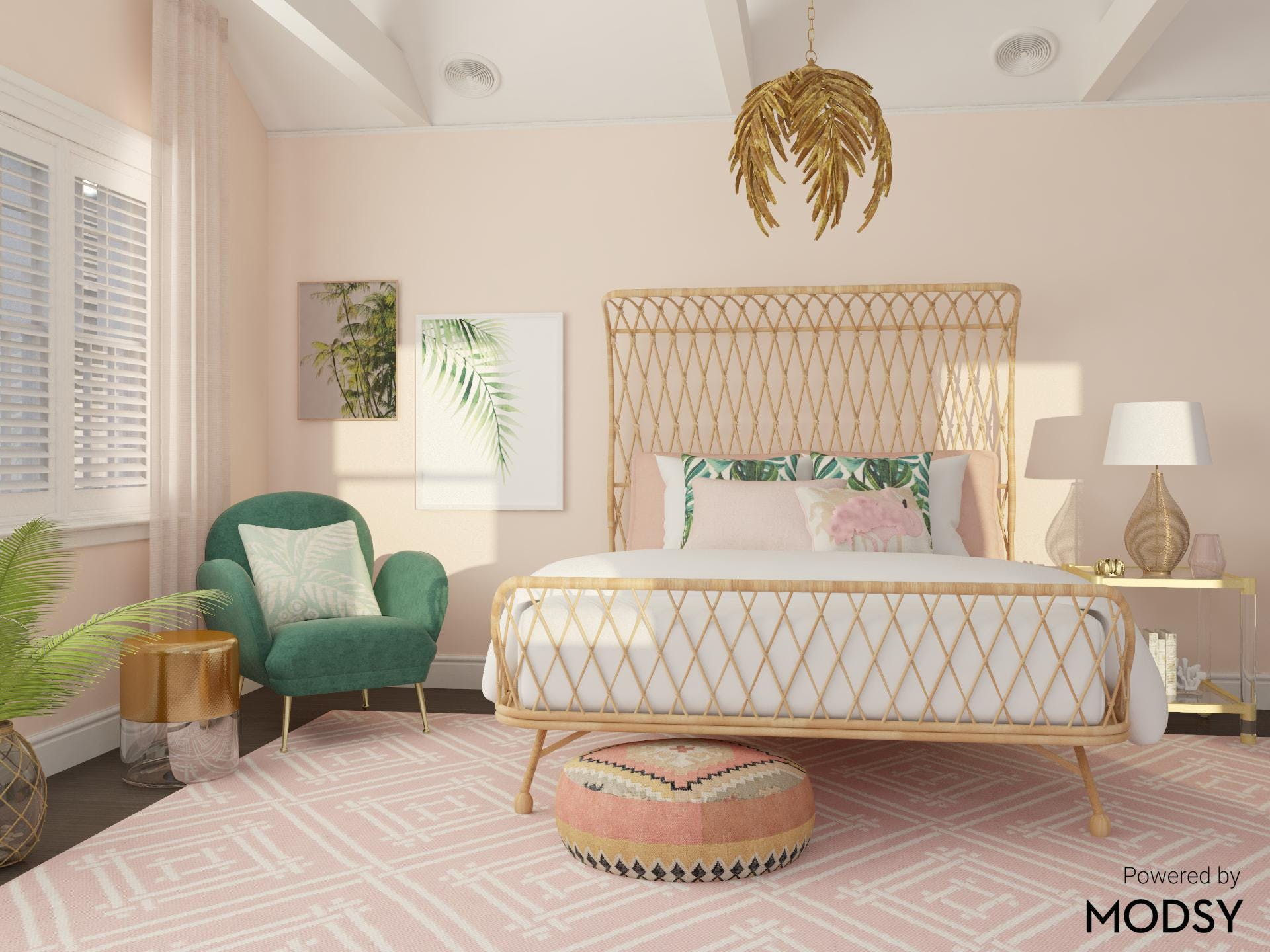 Bold Tropical Inspired Bedroom in Boho Eclectic Style