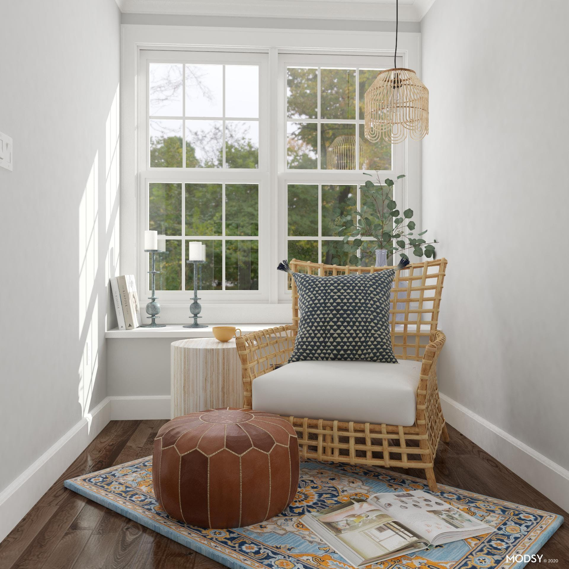 Eclectic Style Reading Nook With Colorful Rug