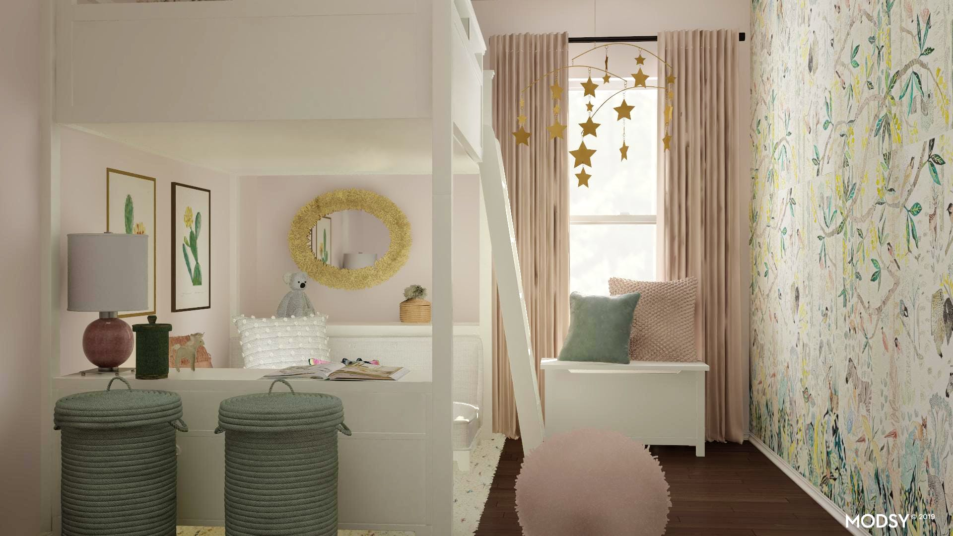 Pastel Rustic Kids Bedroom With Plenty of Storage