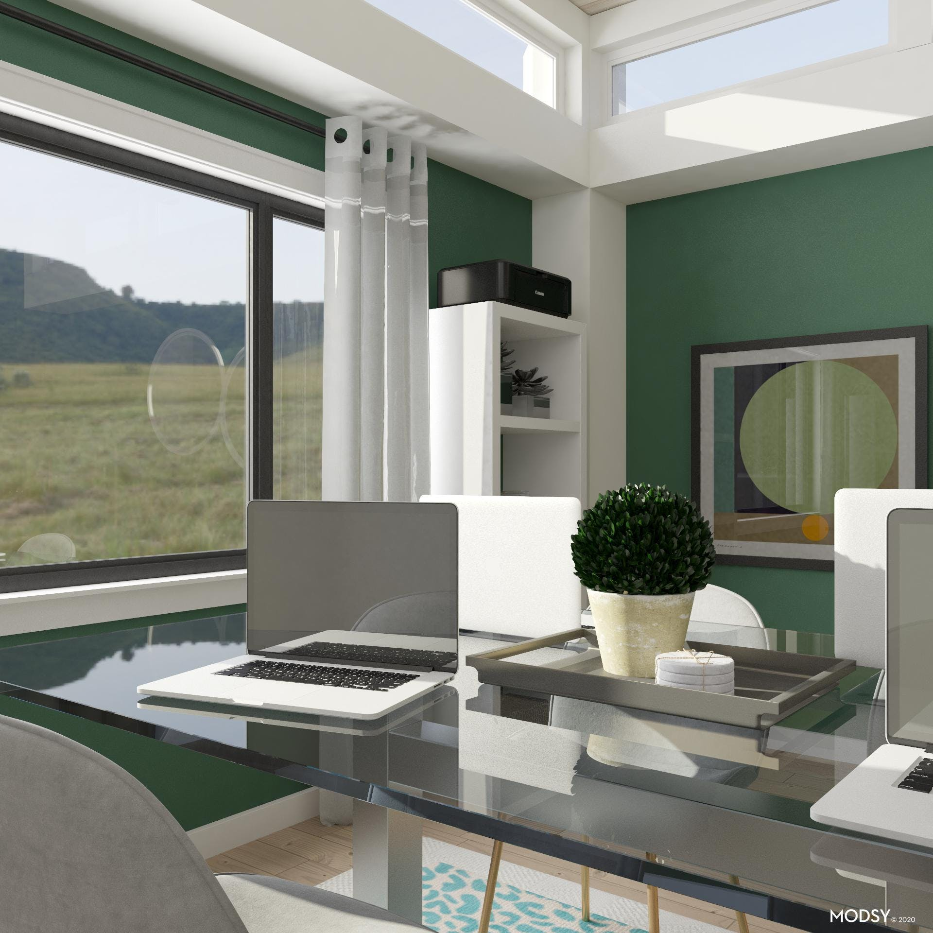 Green Contemporary Workspace
