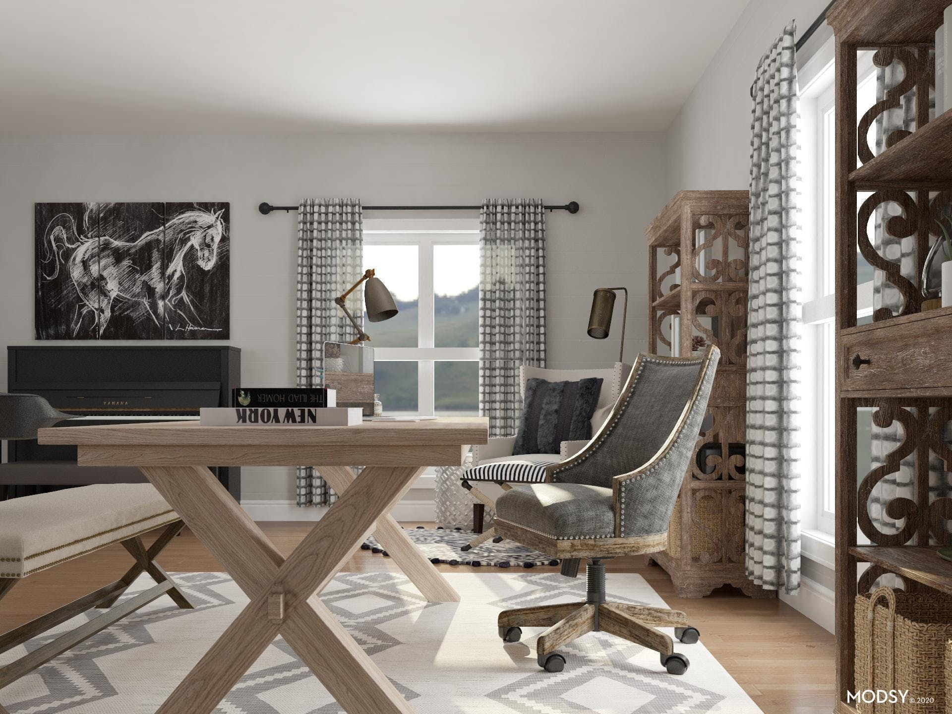 Black & White Color Theme With Wood Tones