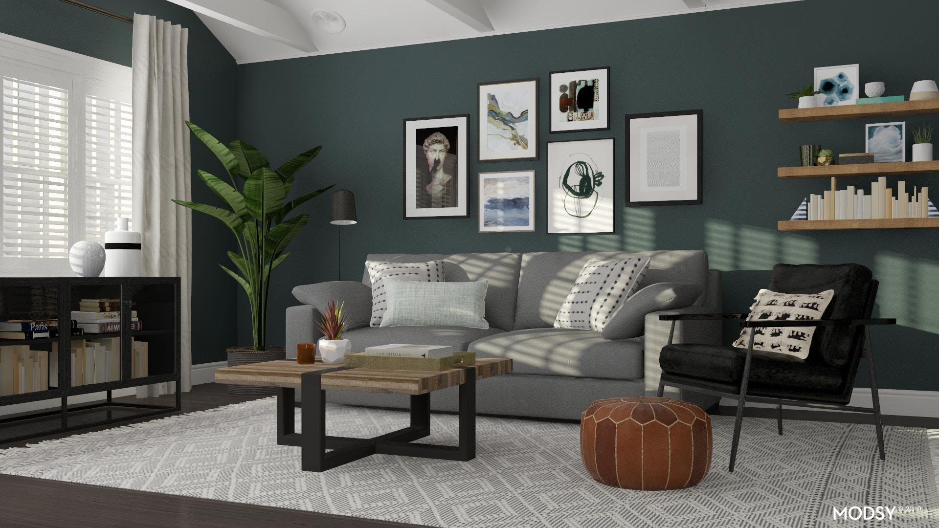 Collected Modern Living Room With Gallery Wall