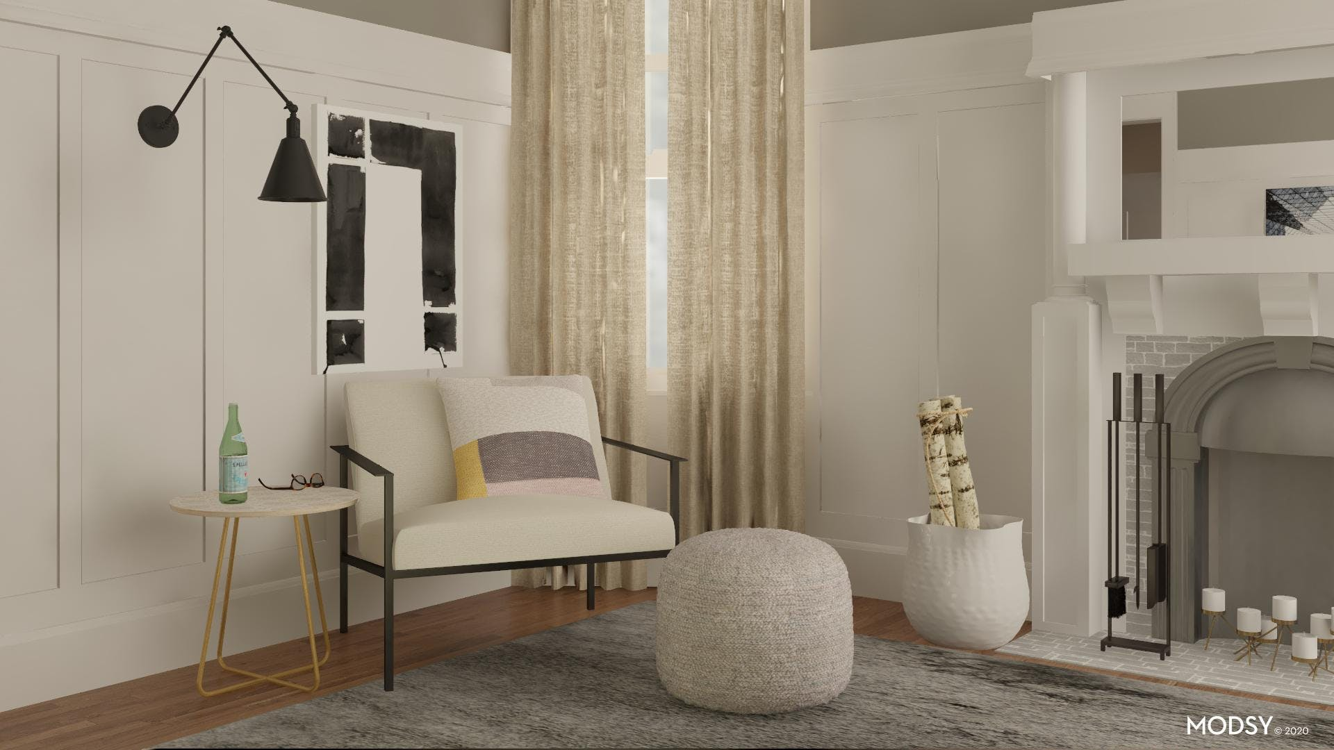 Modern, Minimal, and Neutral Family Room