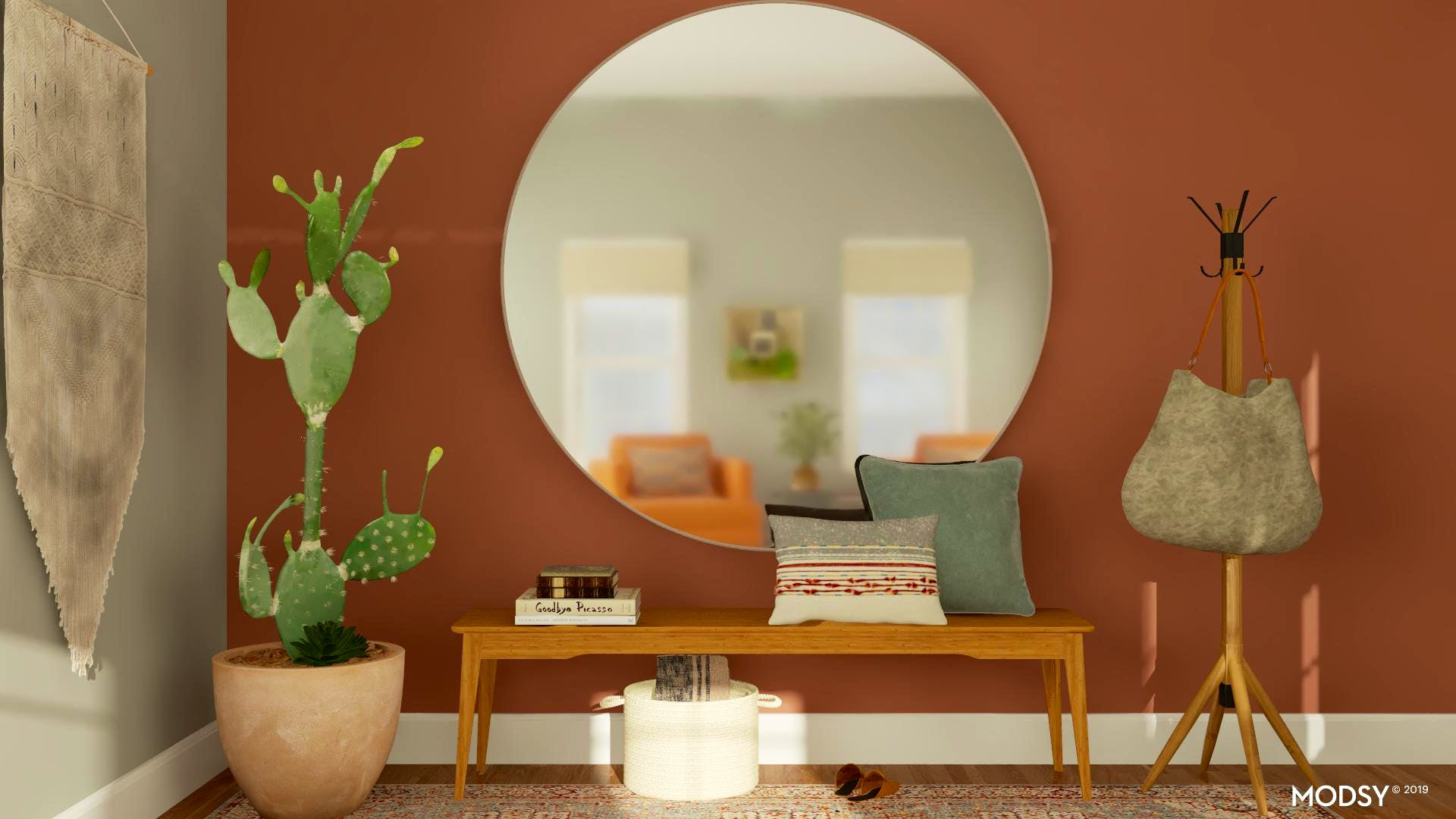 Warm Mid-Century Entryway Design