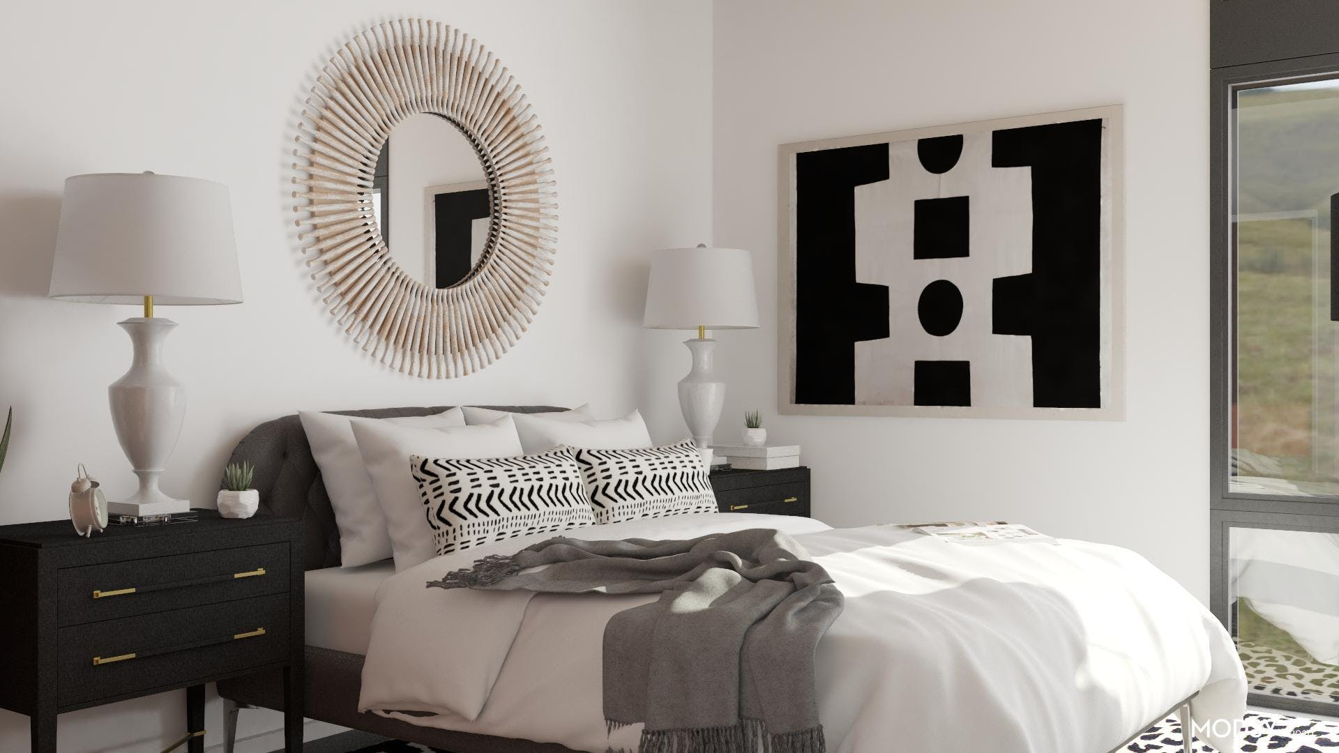 Black & White Bedroom With Personality