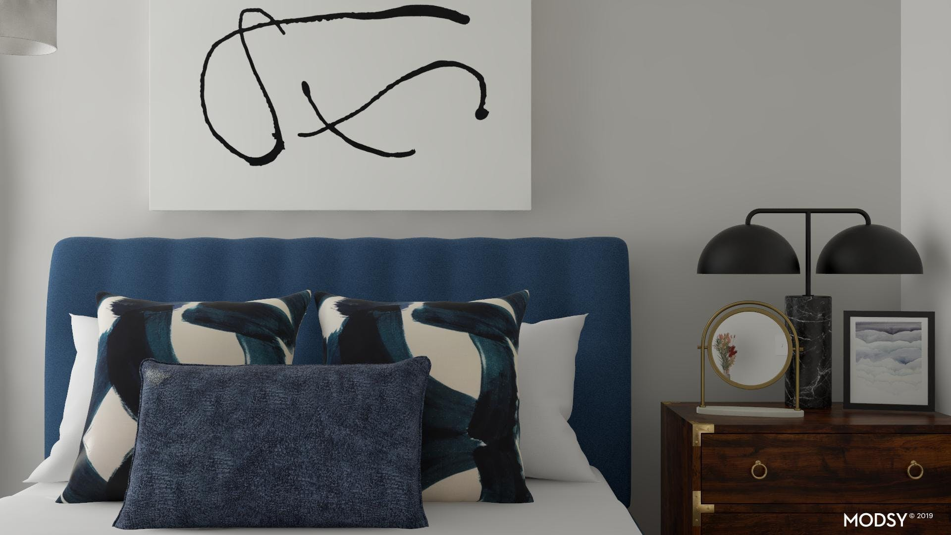Glam Touches in a Contemporary Blue Bedroom