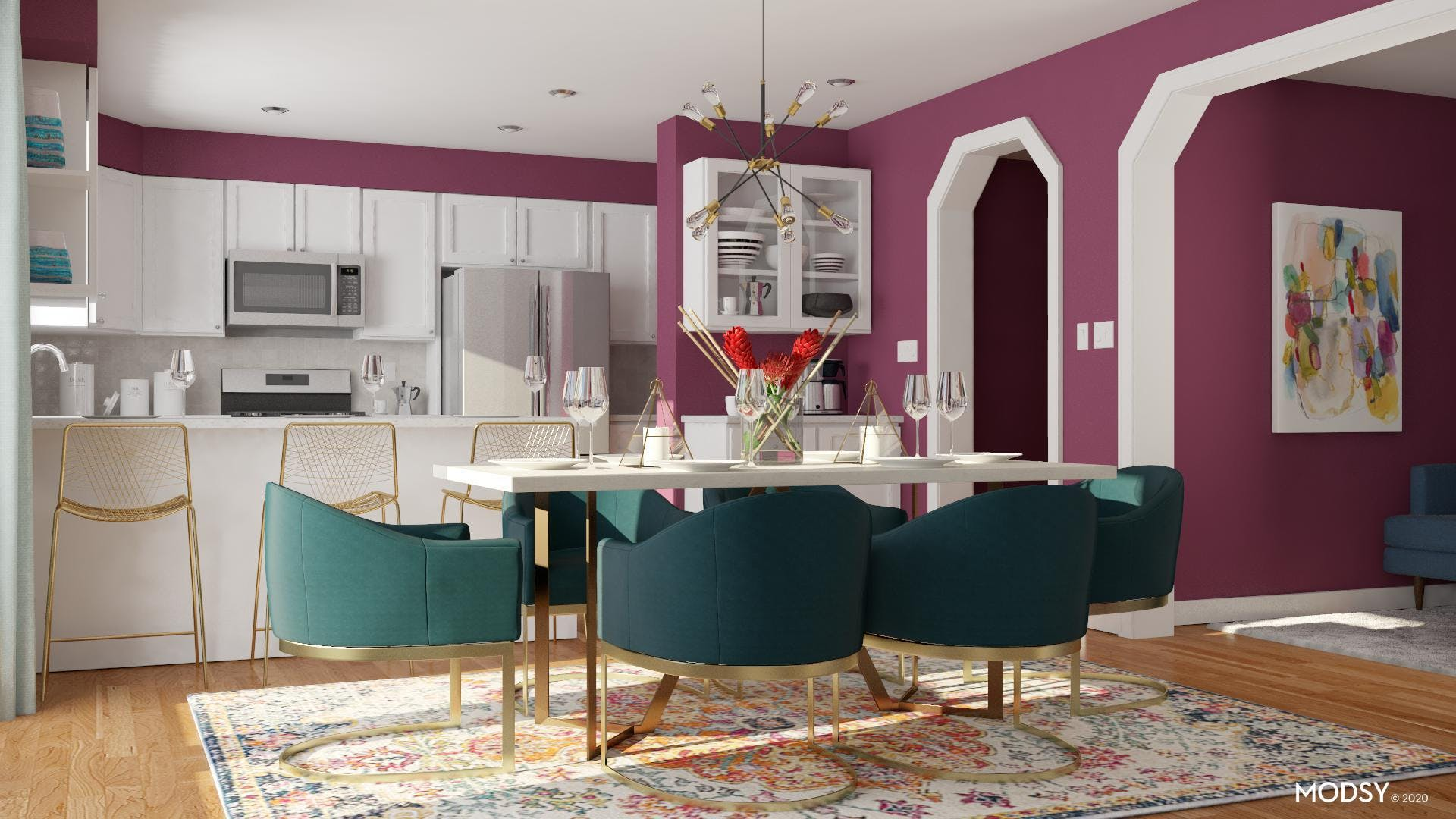 Colorful Jewel Toned Dining Room