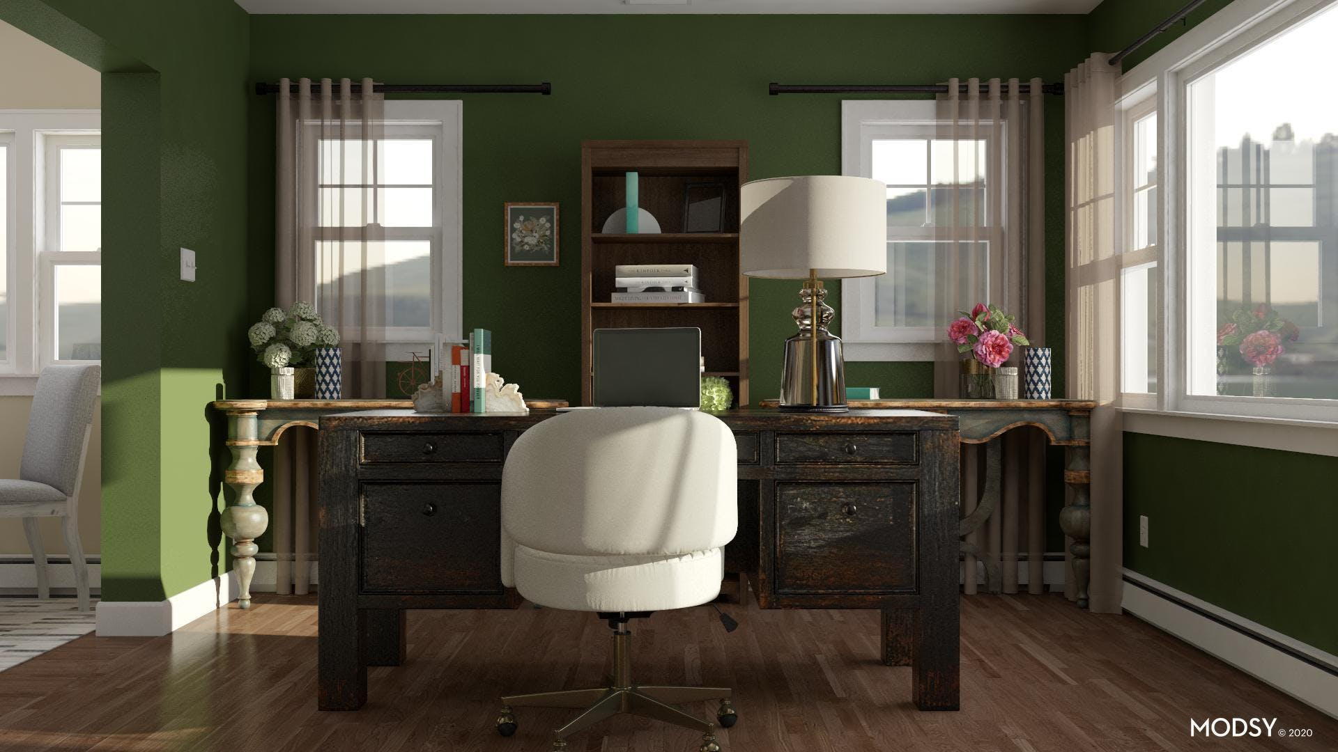 Traditional Office In Green tones