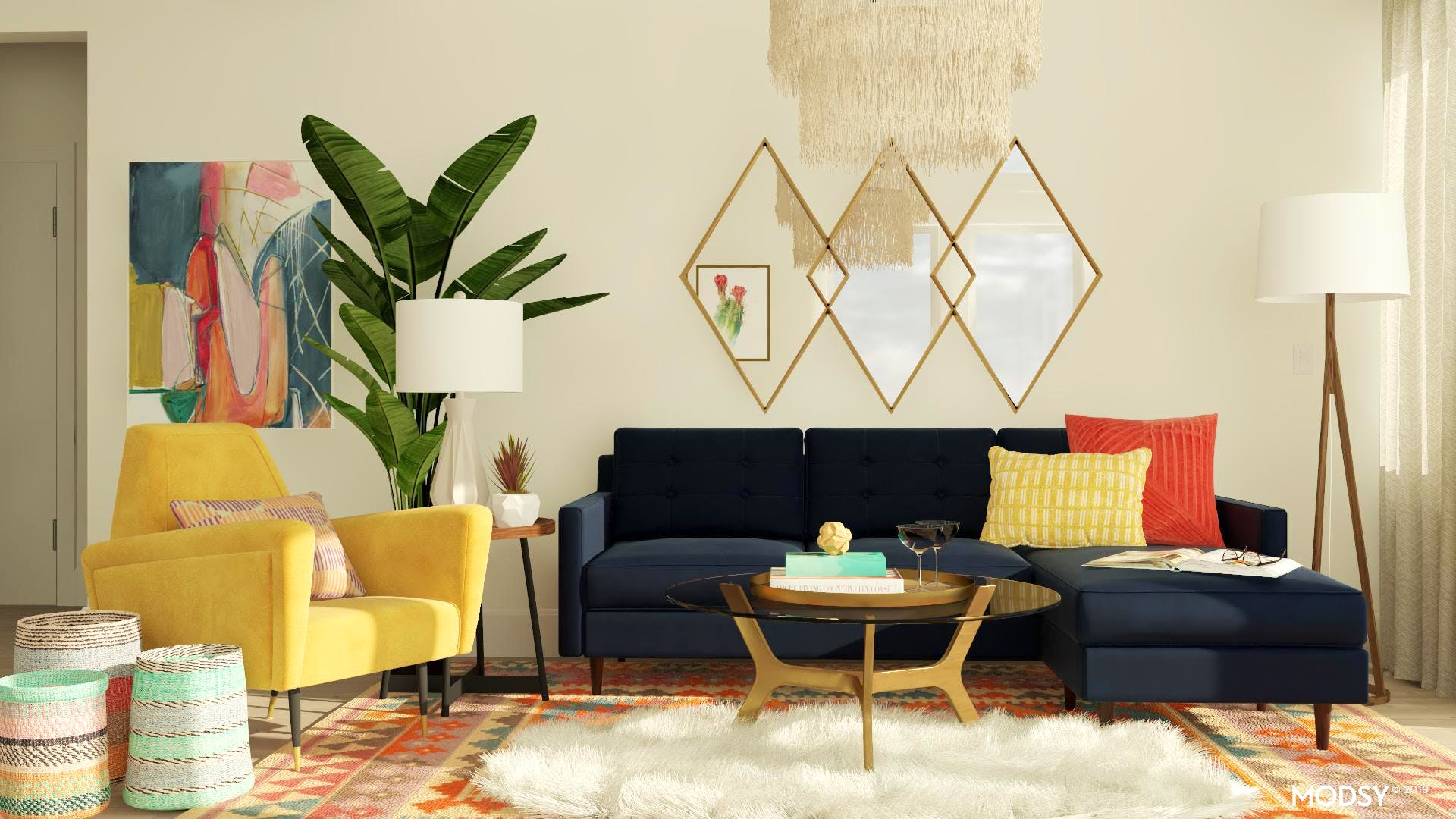 Feminine Mid-Century Living Room Design