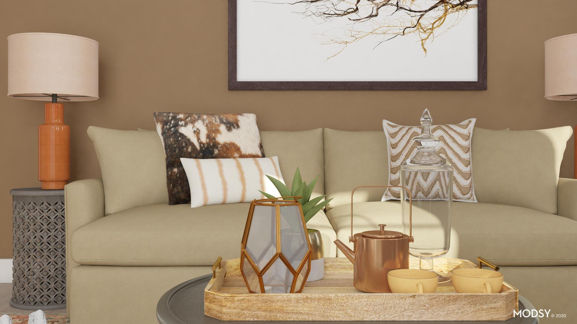 Earth Tones in Traditional Living Room