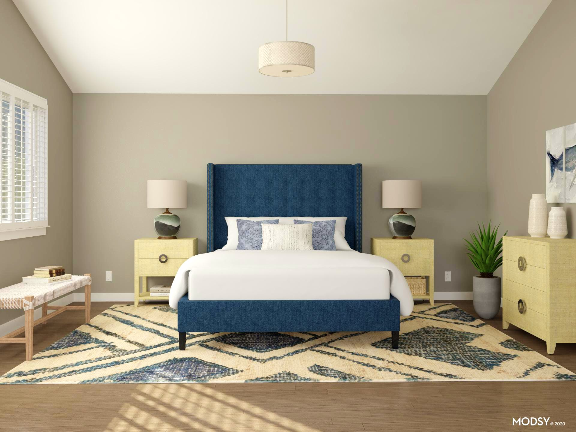 Rustic and Transitional Bedroom with Large-Size Rug