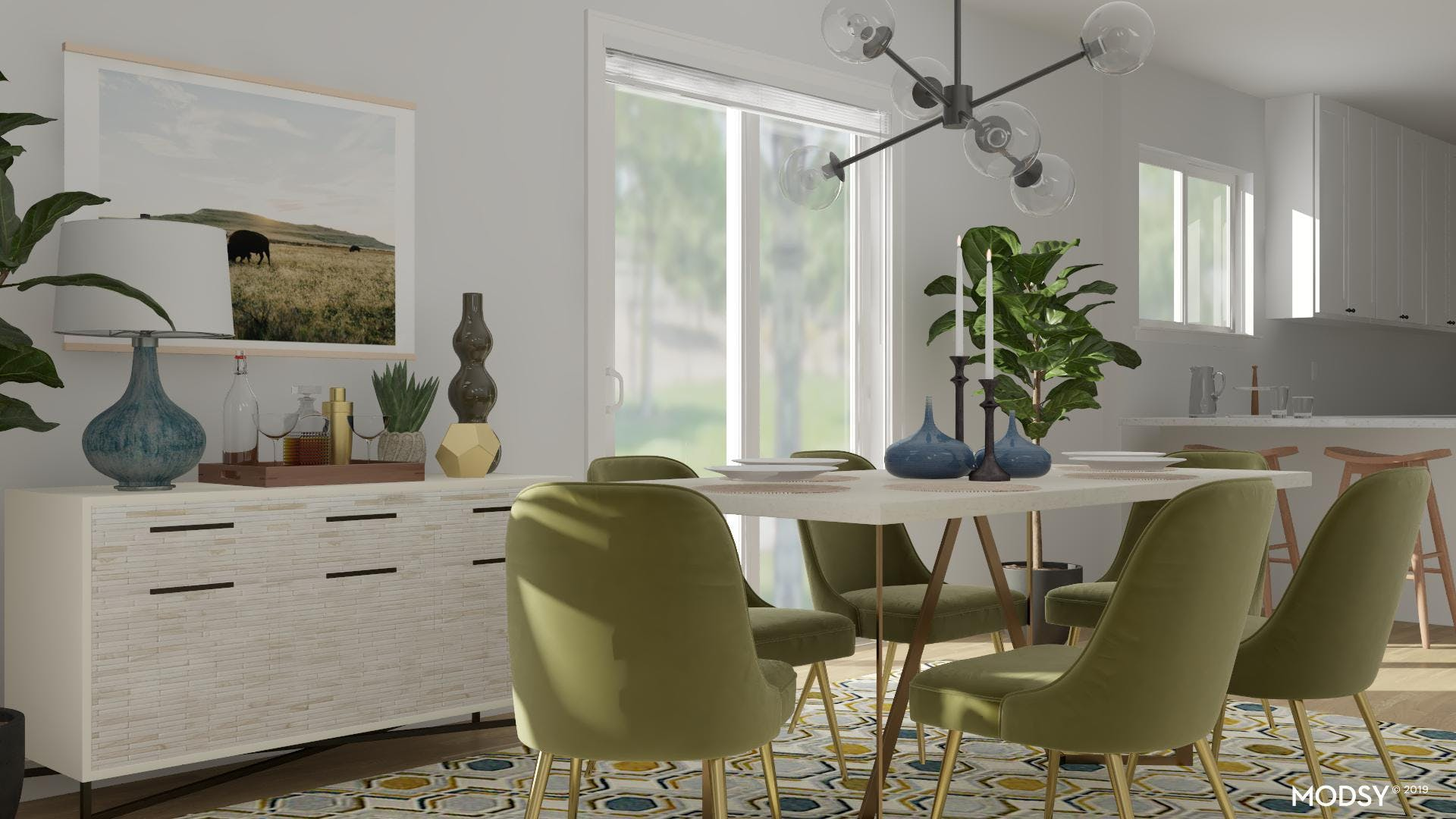 Green With Envy Mid-Century Dining Room