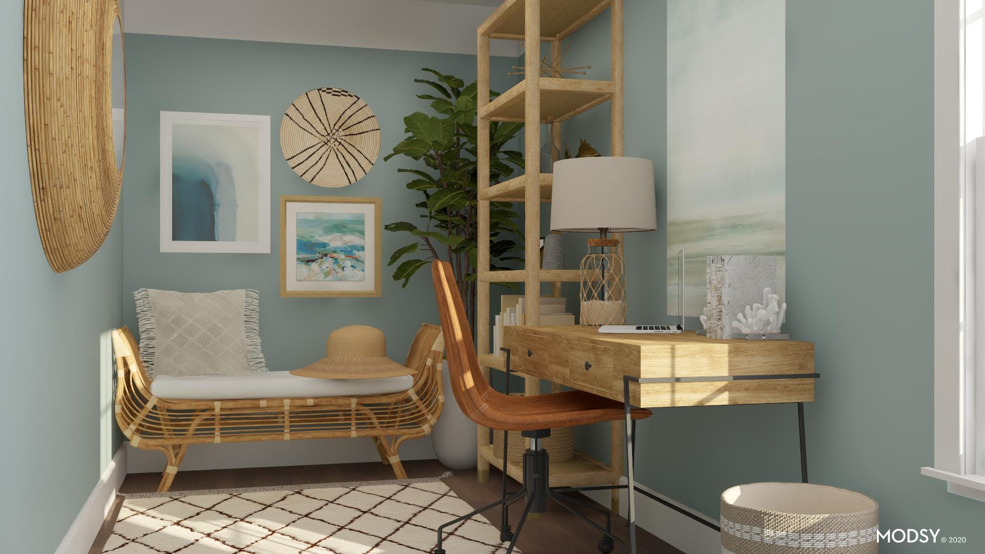 Coastal Reading Nook in a Home Office