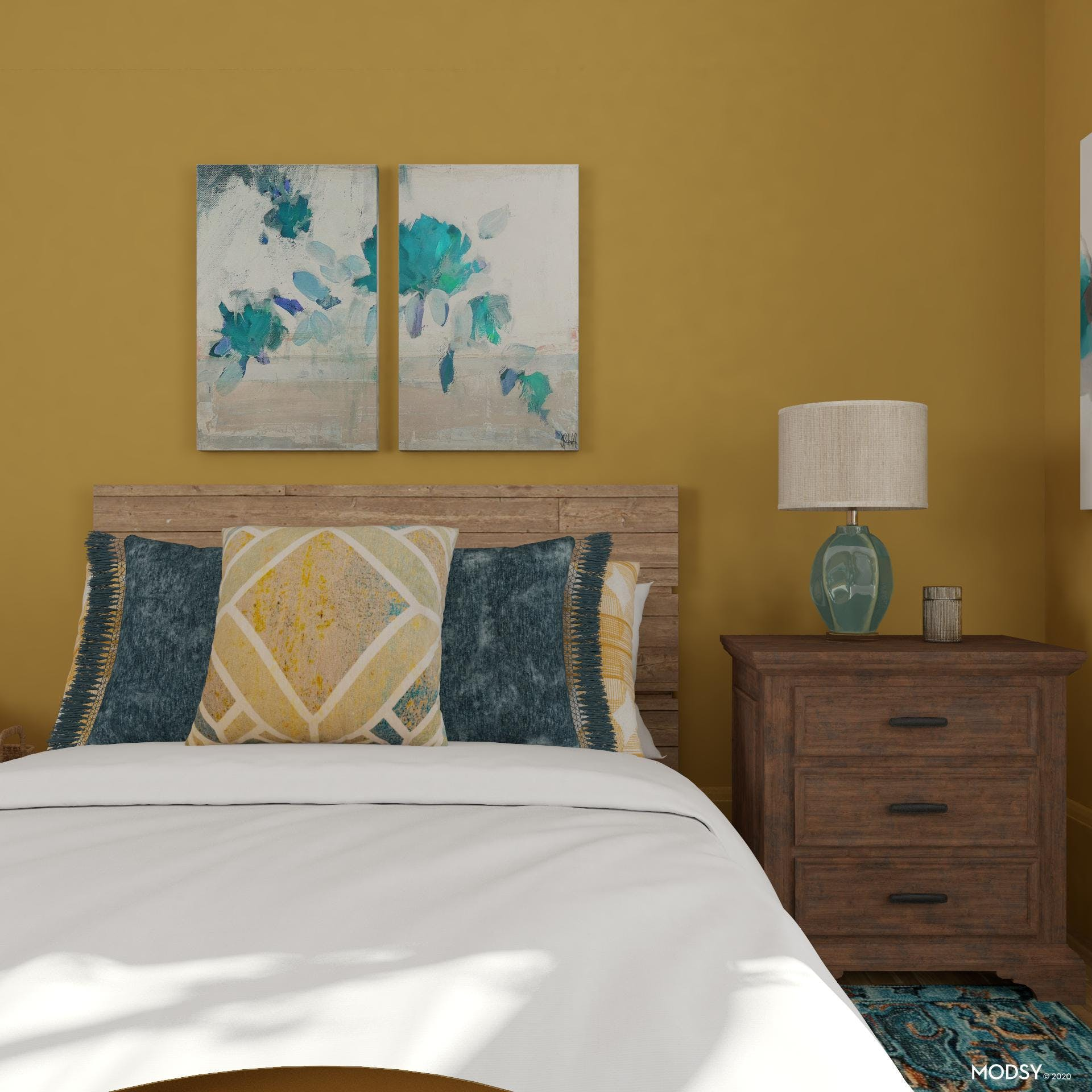 Bold Gold Transitional Bedroom