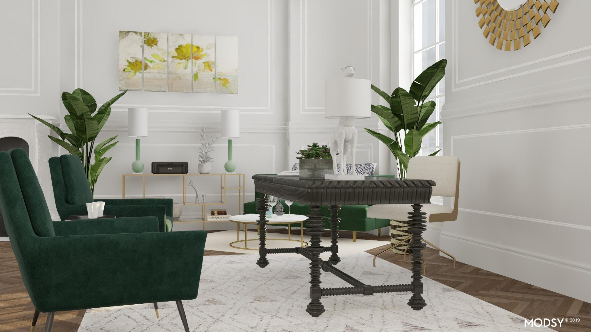 Office With A Green Color Scheme