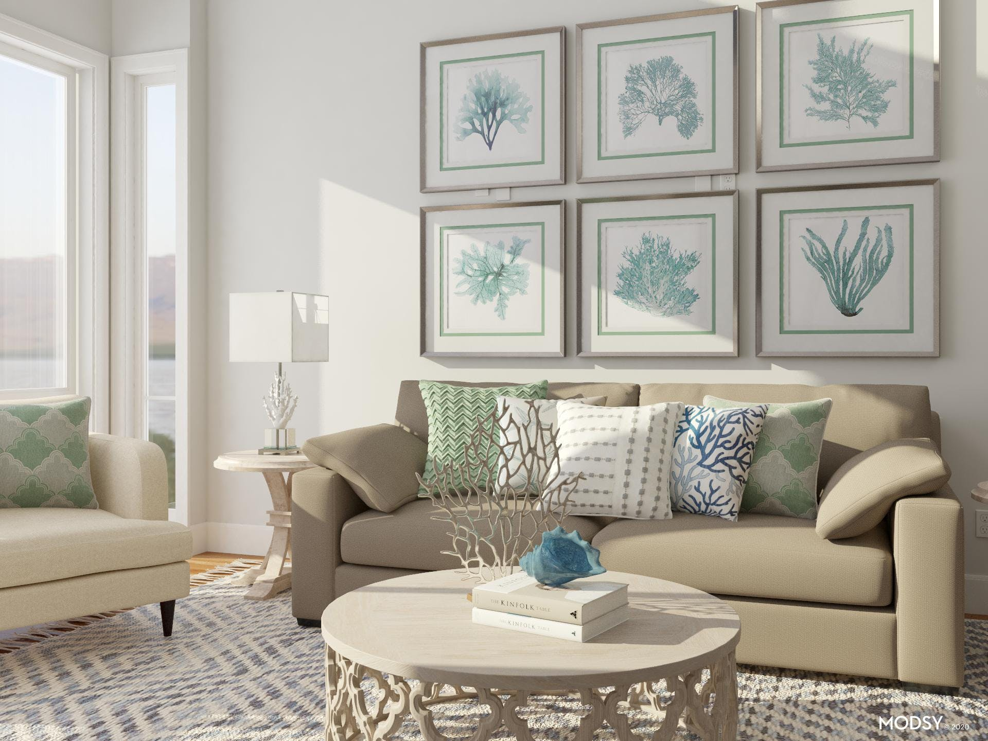 Mixing Pillows: Coastal Living Room
