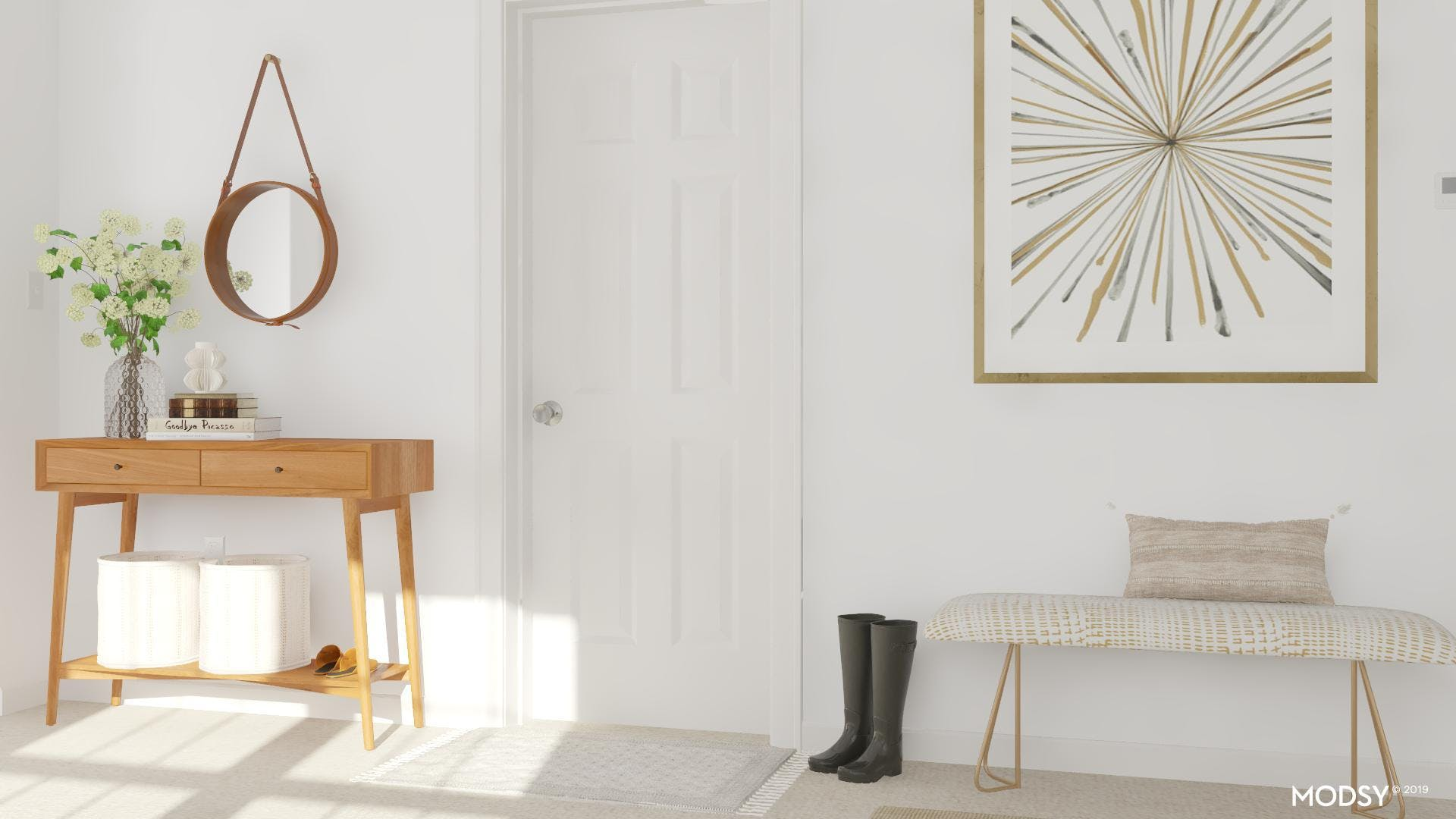 Mid-Century Chic Neutral Entryway