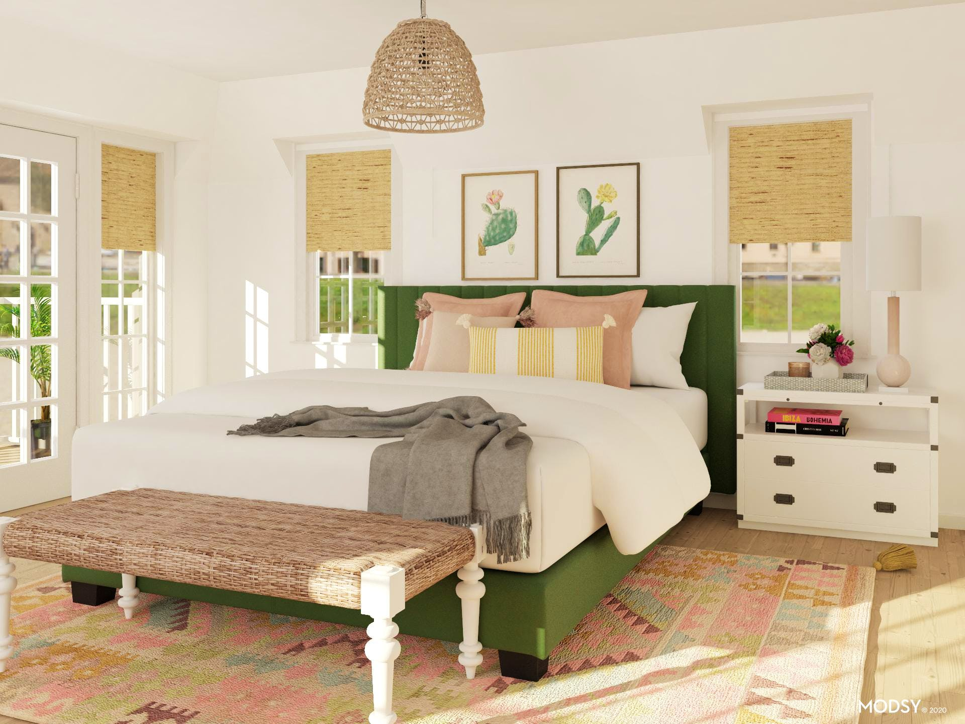 Eclectic Bedroom with Green and Pink Color Scheme