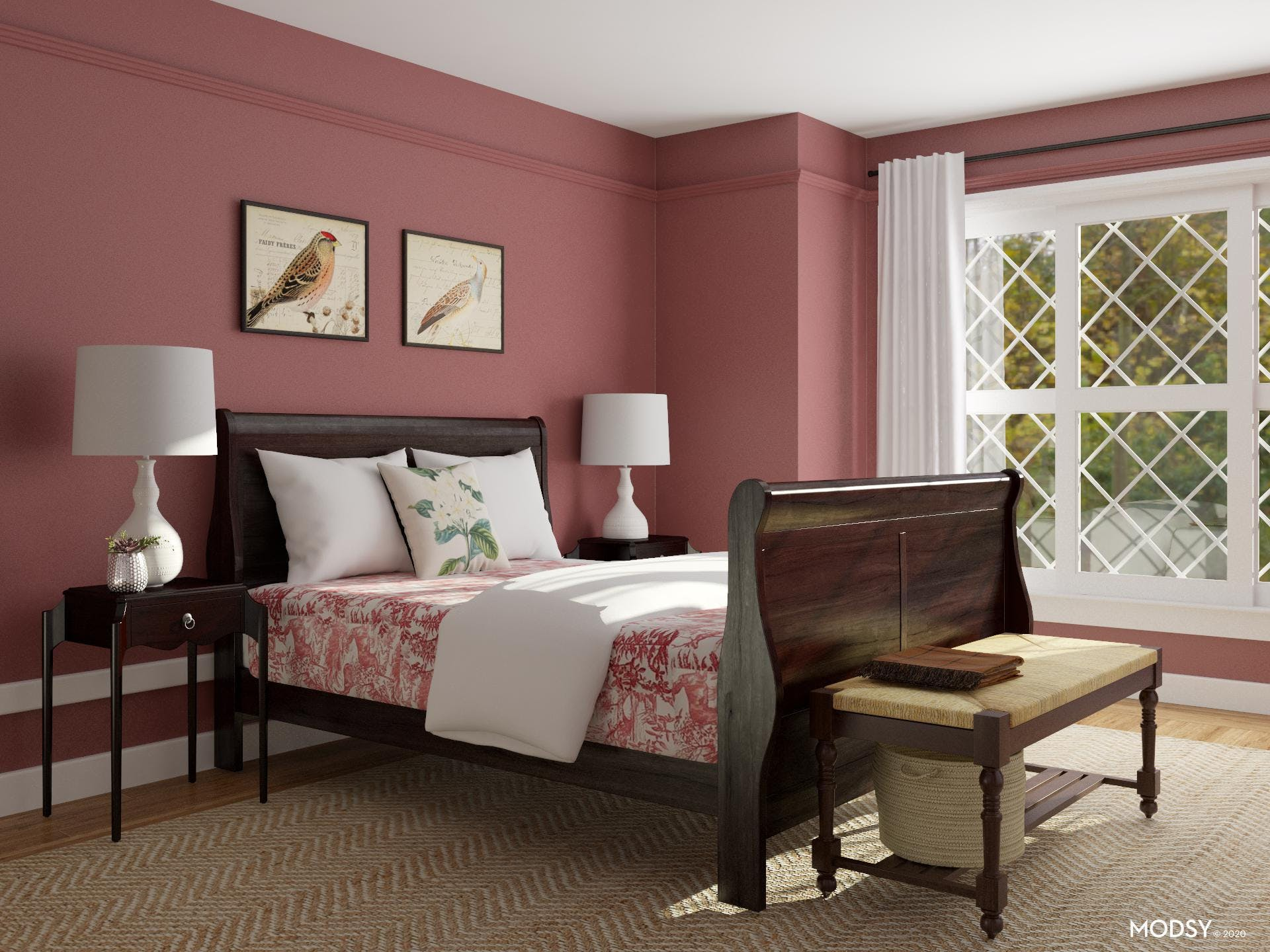 A Traditional Sense: Red Bedroom Design