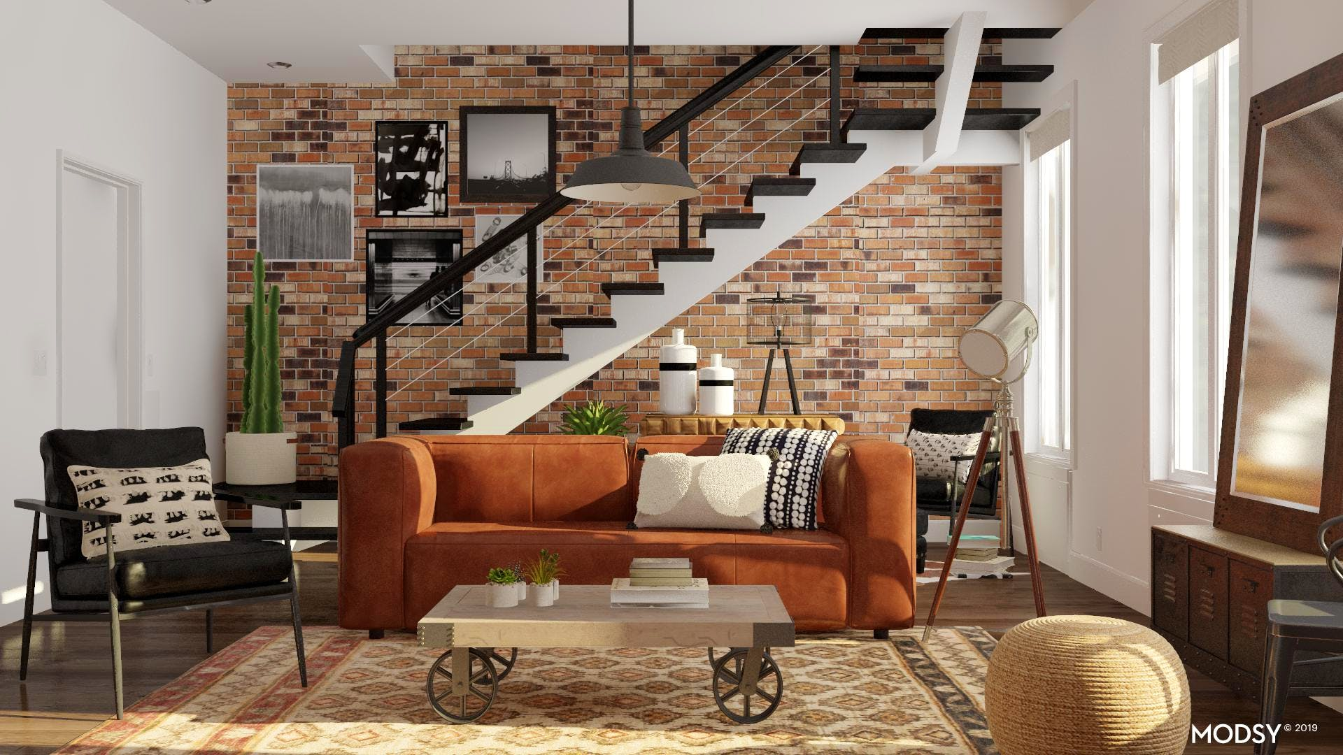 Warm Industrial Living Room Design | Industrial-Style ...