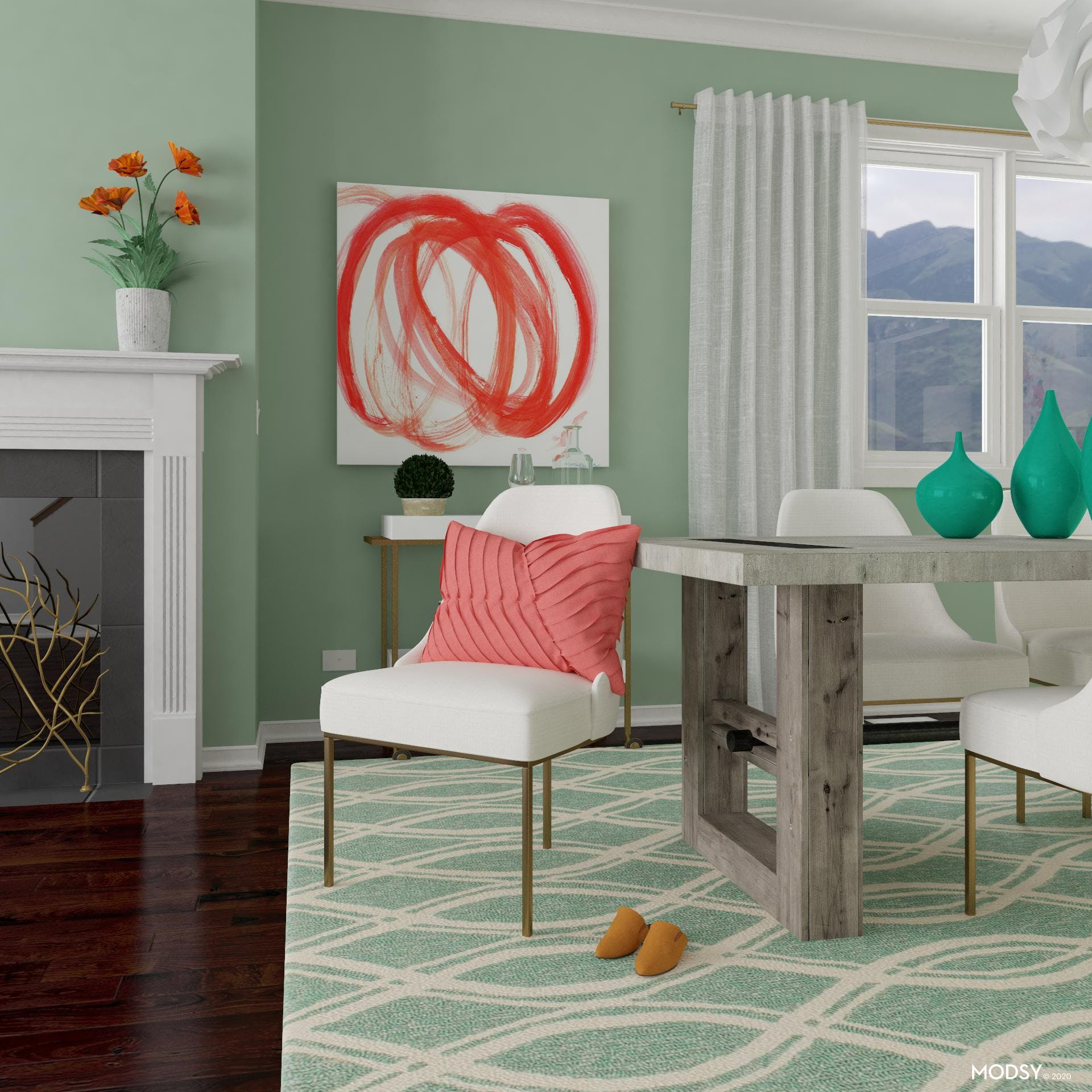 Contemporary Dining Room in Pastel Green