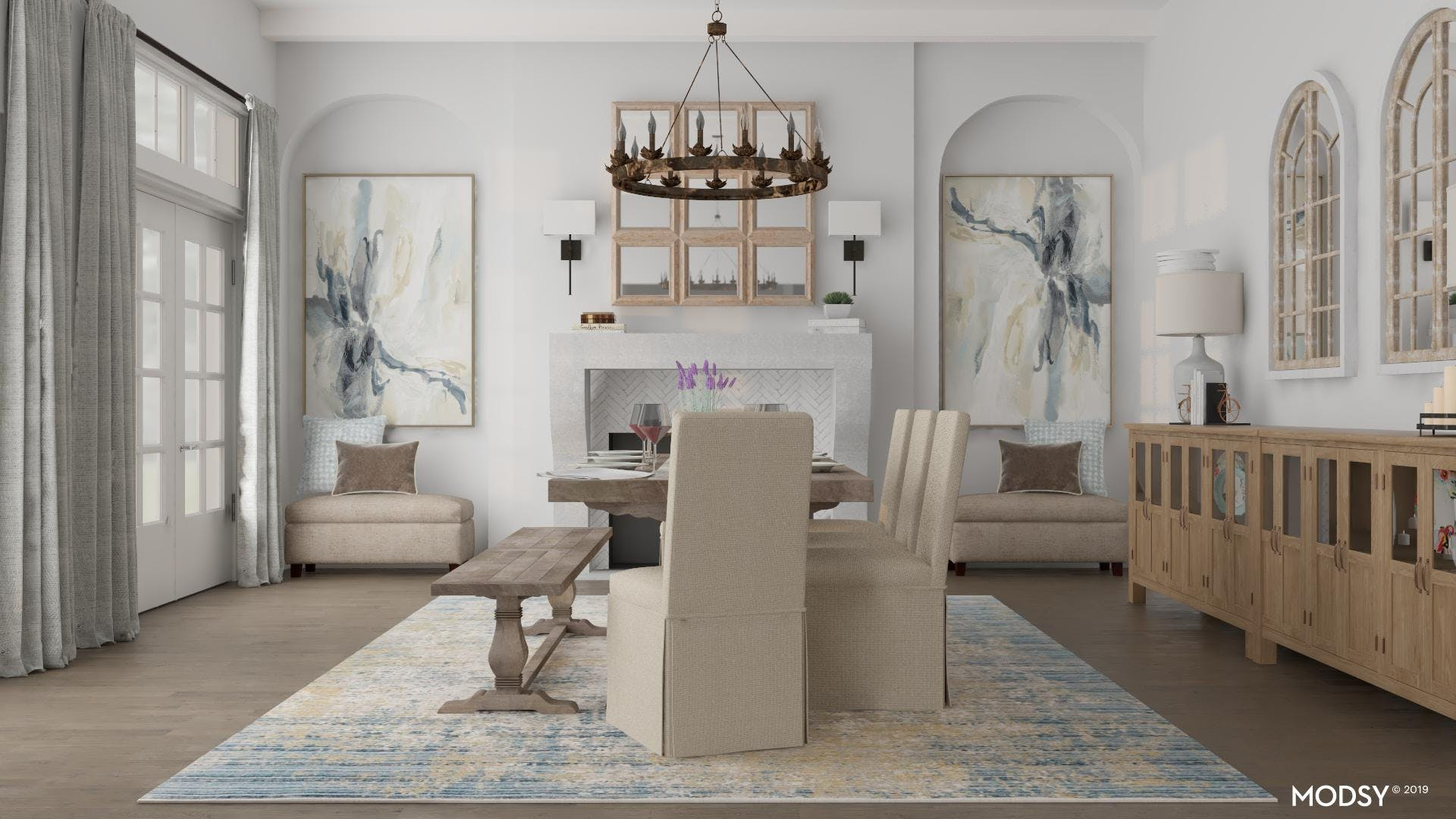 Large Rustic Dining Room with Pops of Pastel