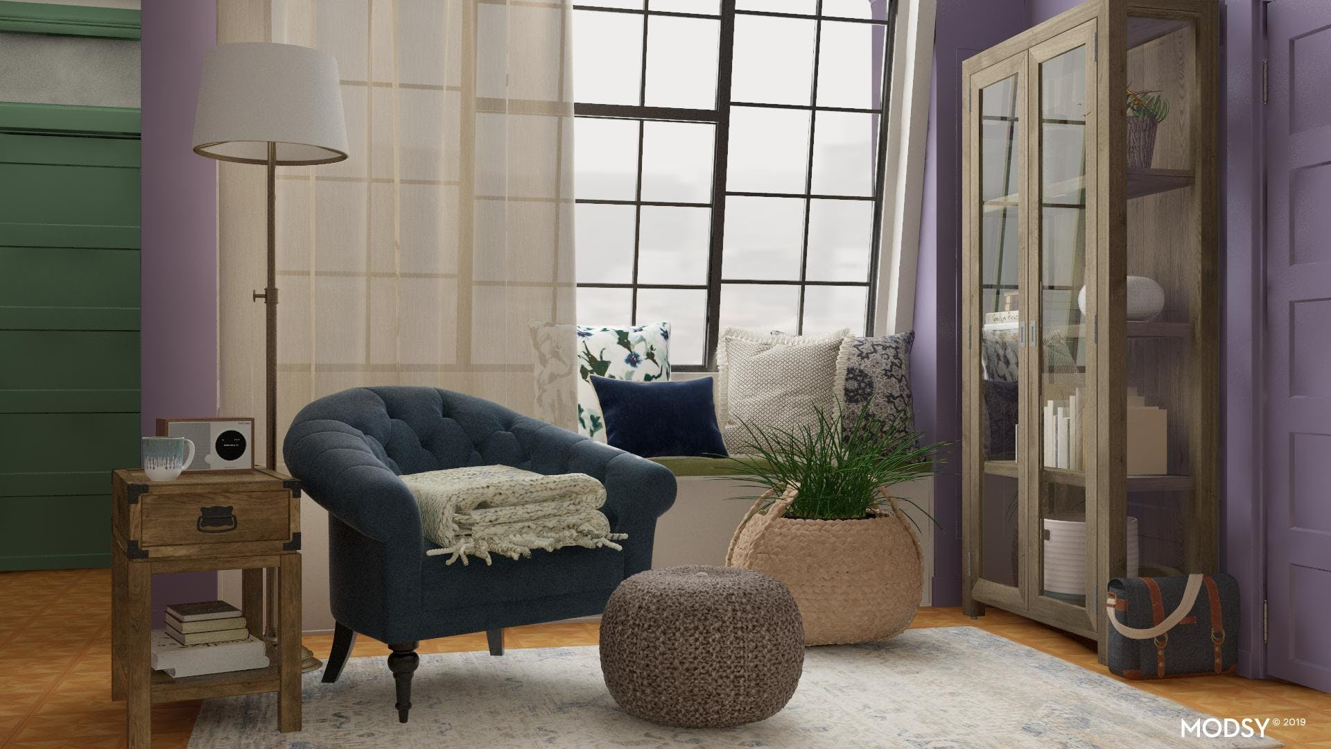 Colorful Transitional Reading Nook