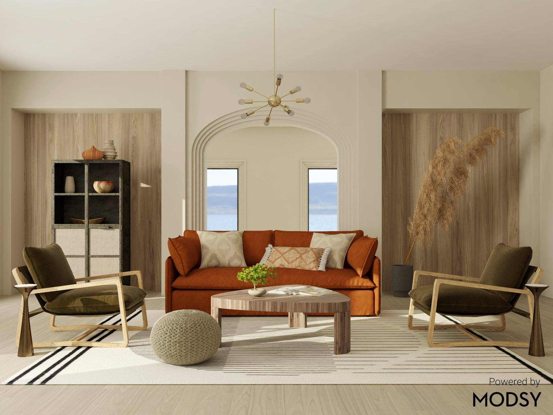 Rich Earth Tones in Contemporary Living Room