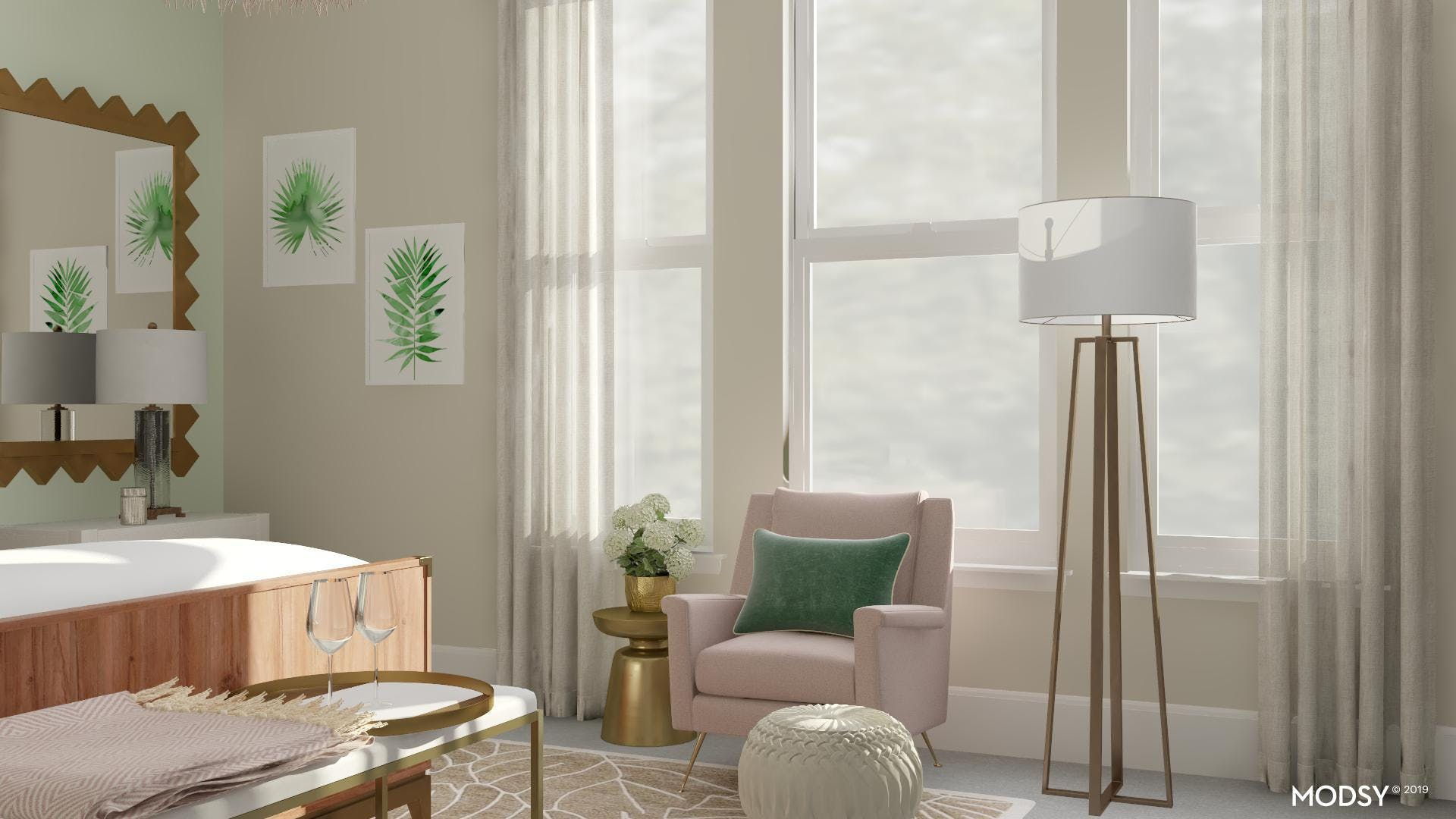 Peaceful Bedroom Sitting Area With Pastel Accents
