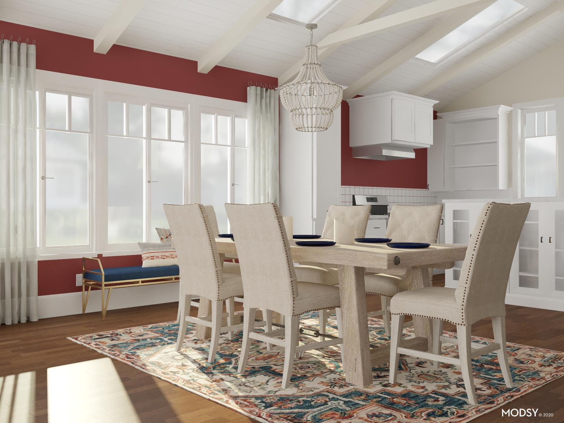 A Dining Room with Bold Red and Blue