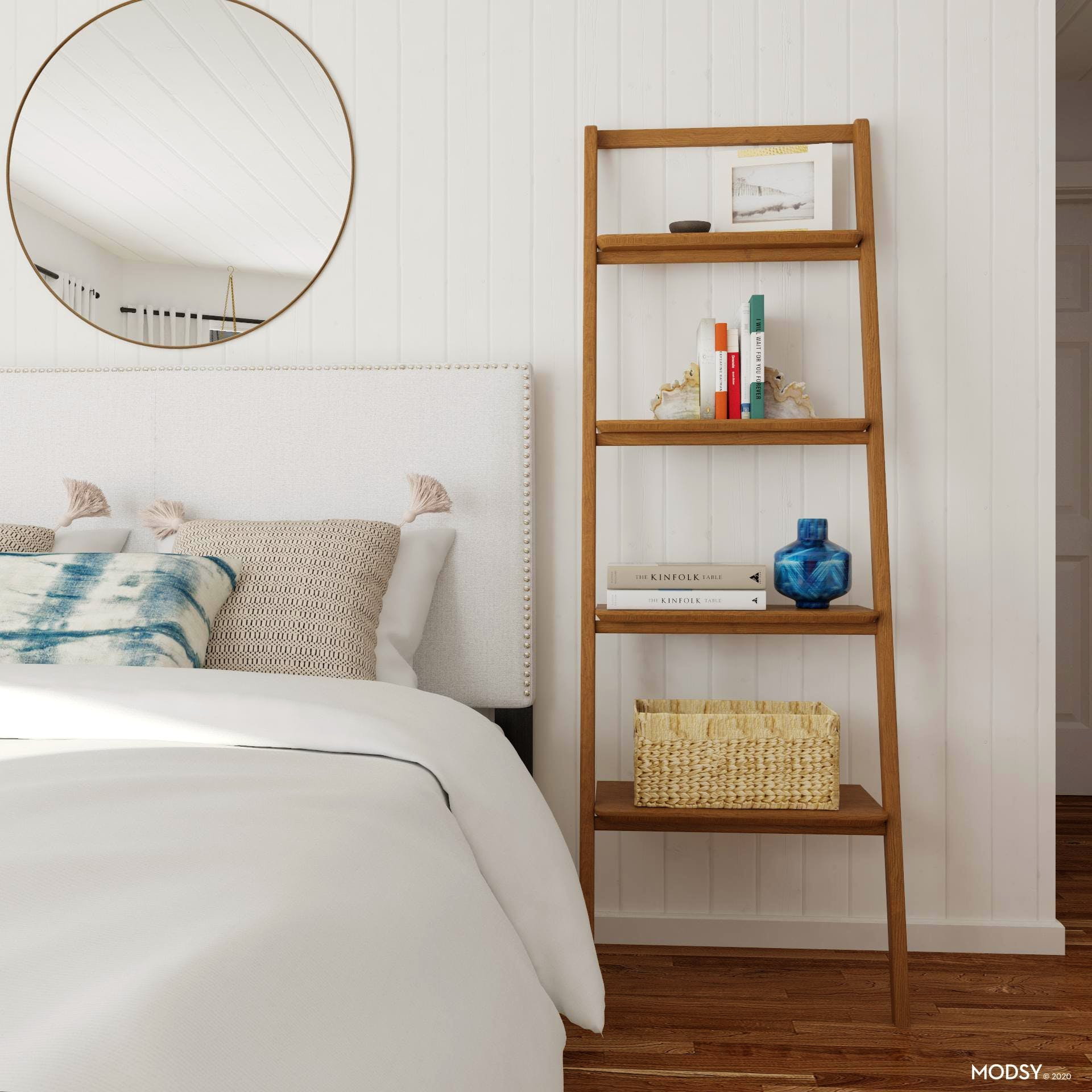 Beachy  Bookcase in Mid-Century Modern Bedroom