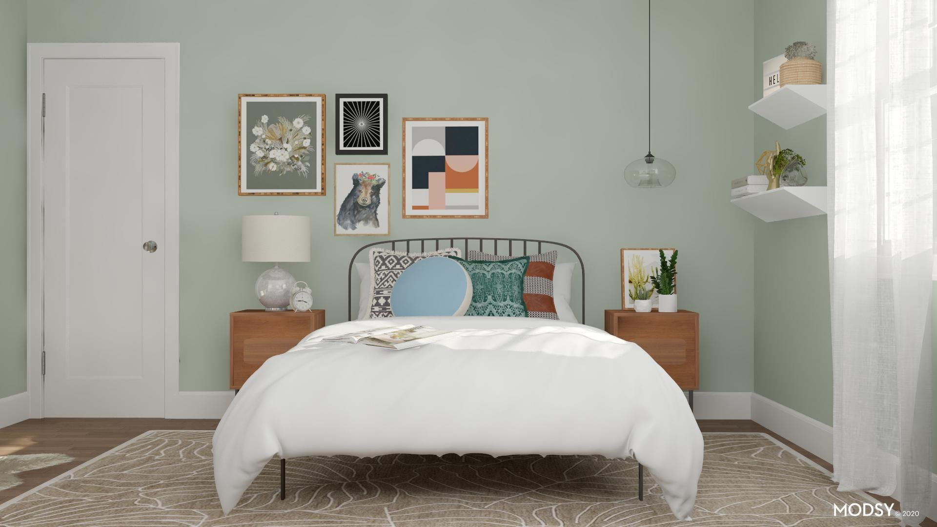Small Eclectic Bedroom in Earth Tones