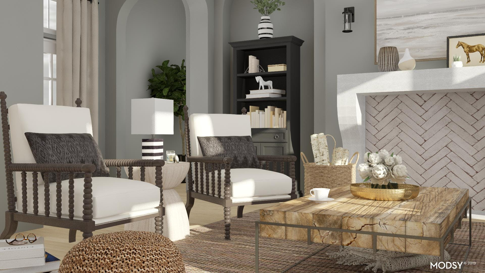 Neutral Rustic Living Room Styling