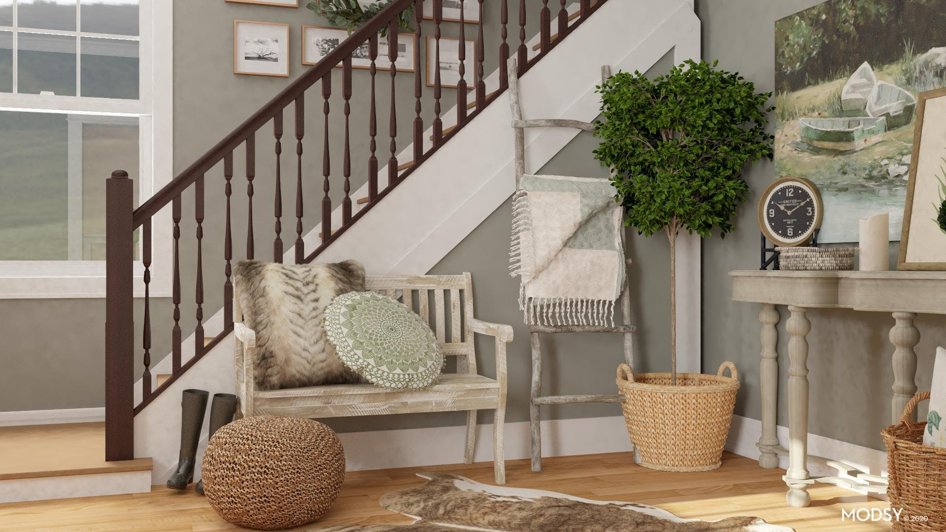 Seating Options in a Rustic Entryway