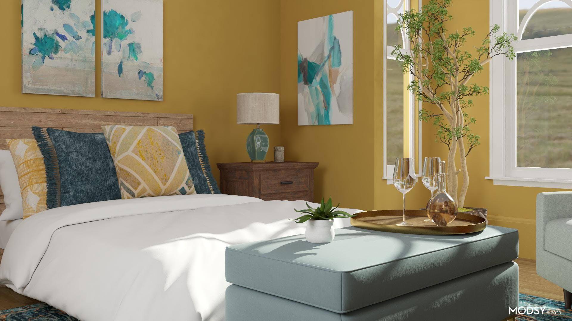 Bright, Multicolored Transitional Bedroom