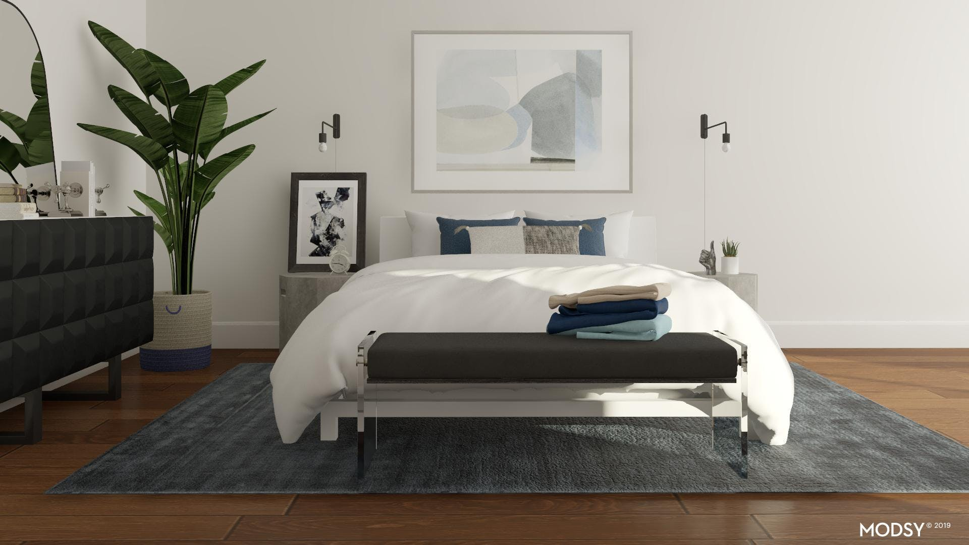 Modern Masculine Blue Bedroom