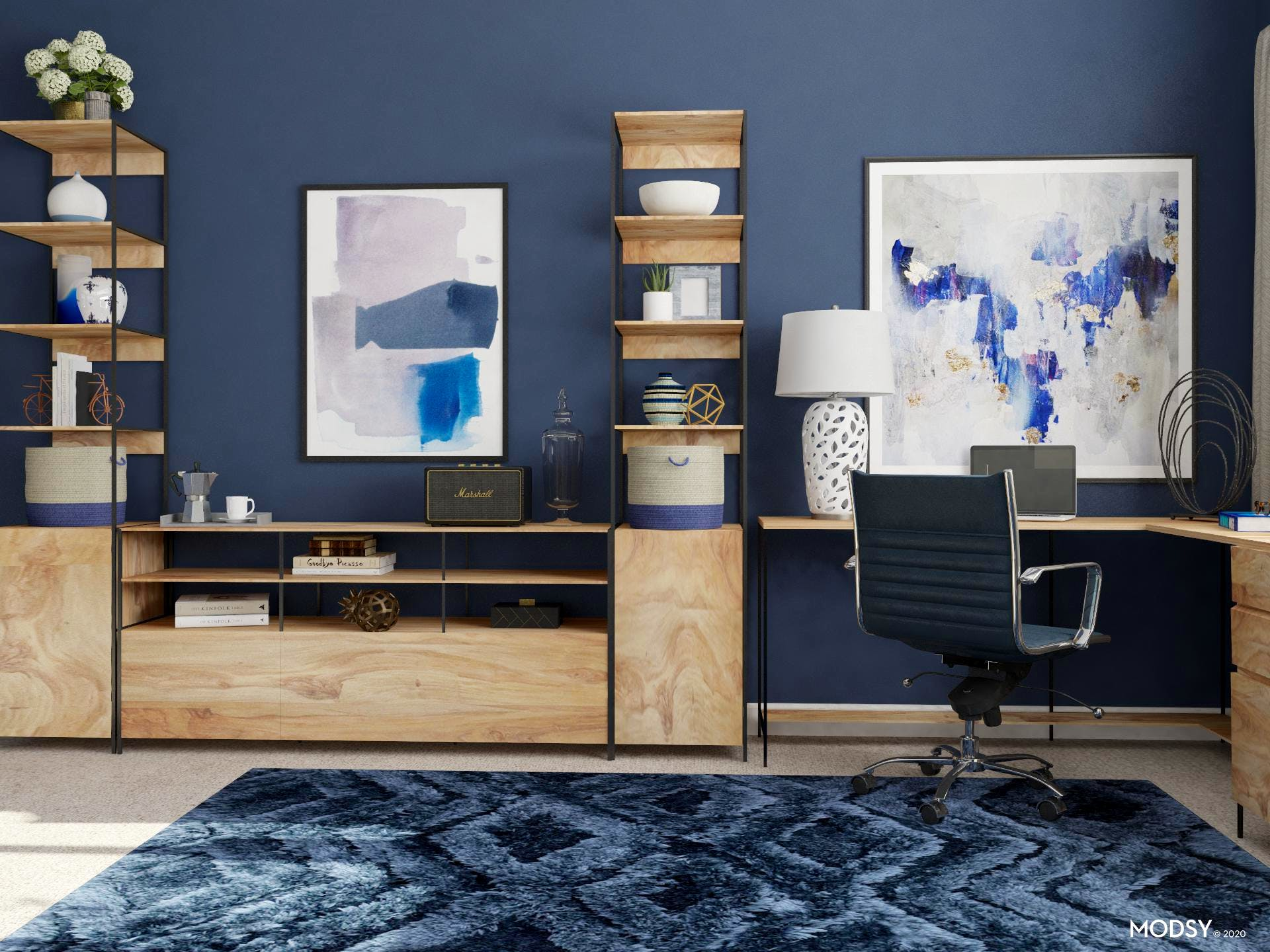 Industrial Office With Pop Of Blue