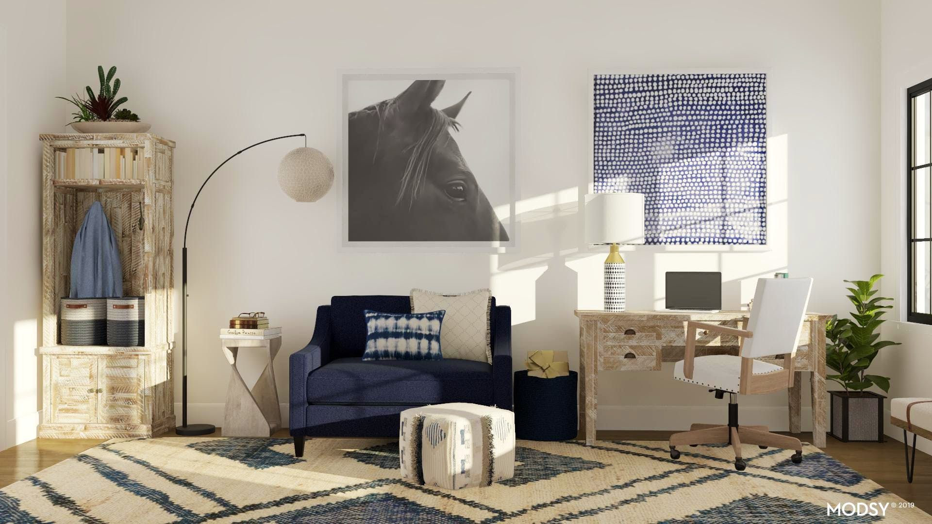 Rustic Office And Relaxed Blues