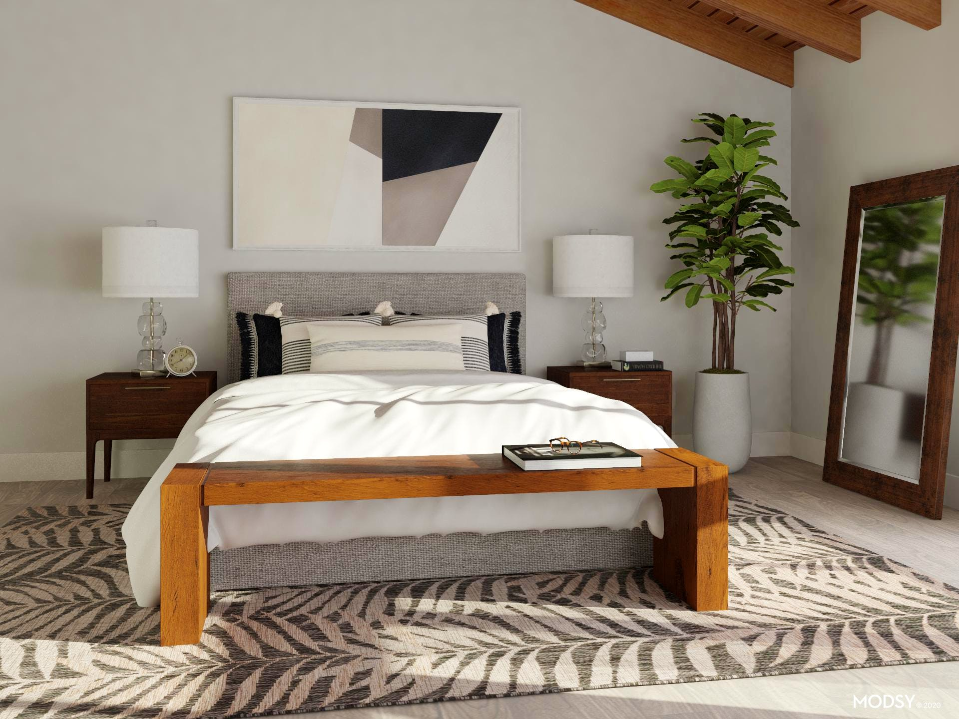 Black and White Transitional Bedroom