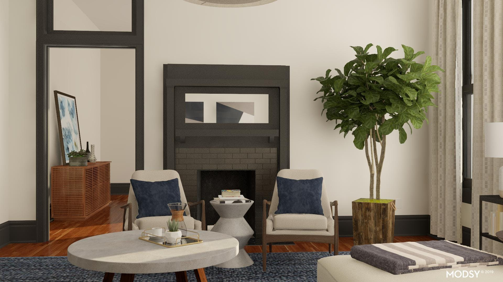 Contemporary Fireplace Seating Area