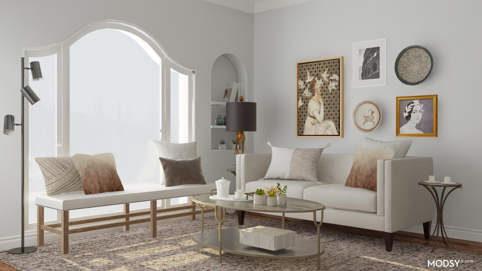 Eclectic Living Room with Elegant Neutrals