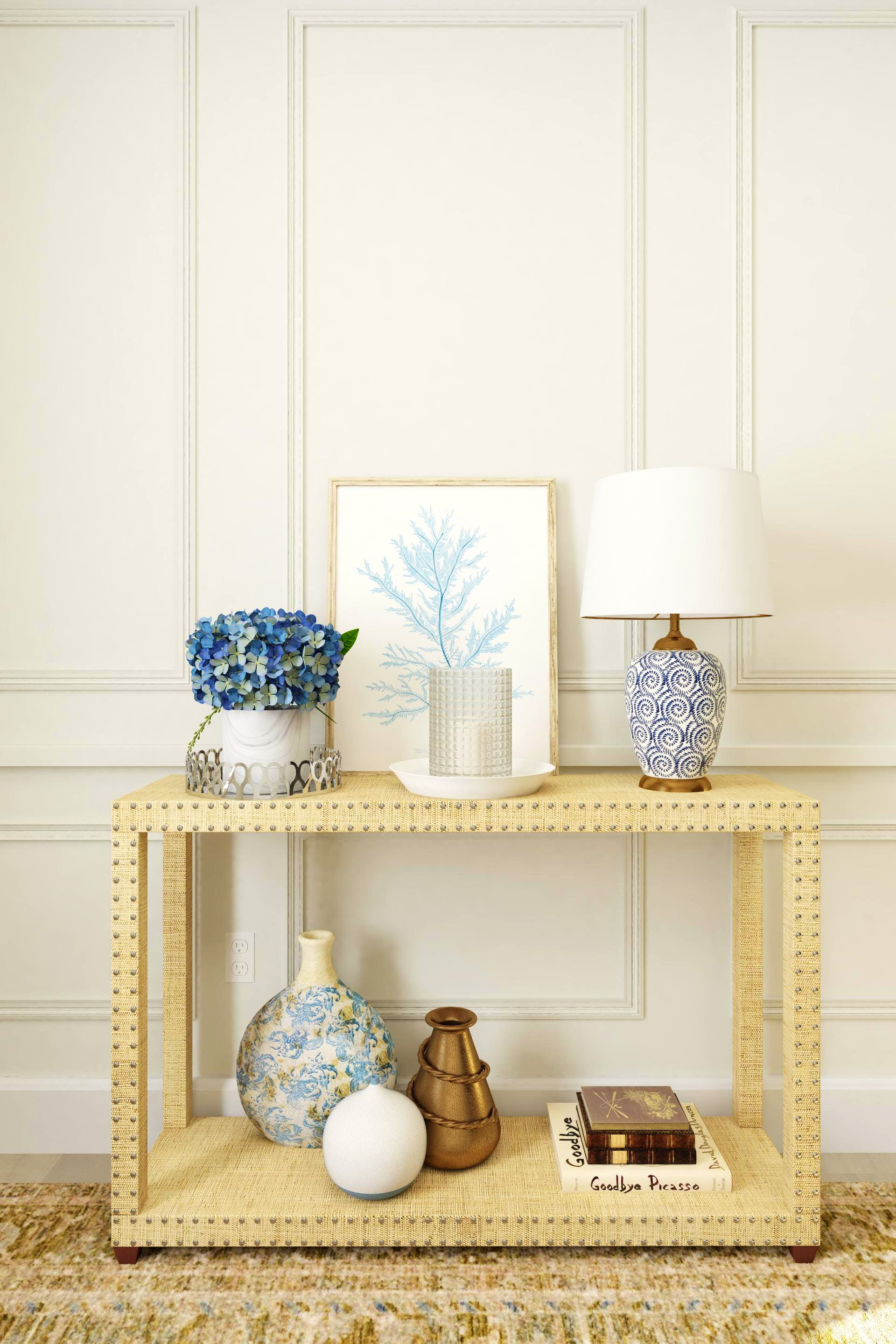 A Classic and Collected Entryway In Blue