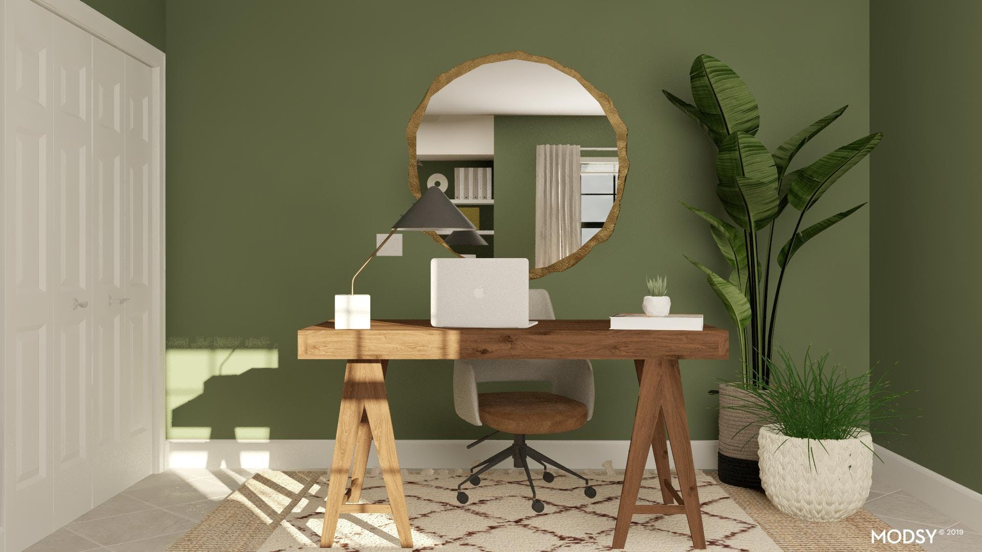 A Floating Desk In A Modern Home Office