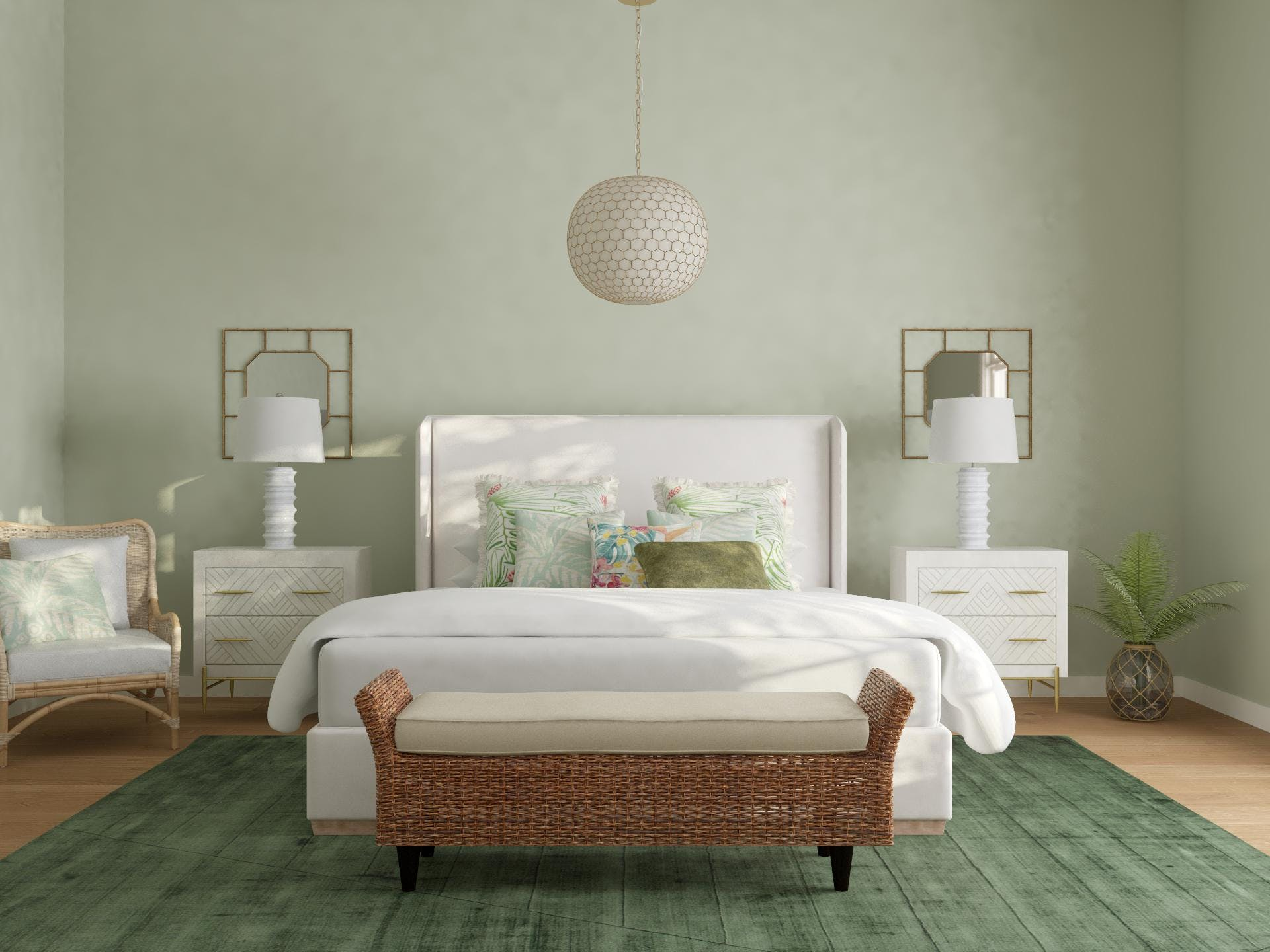 Pale Green Bedroom in Transitional Style
