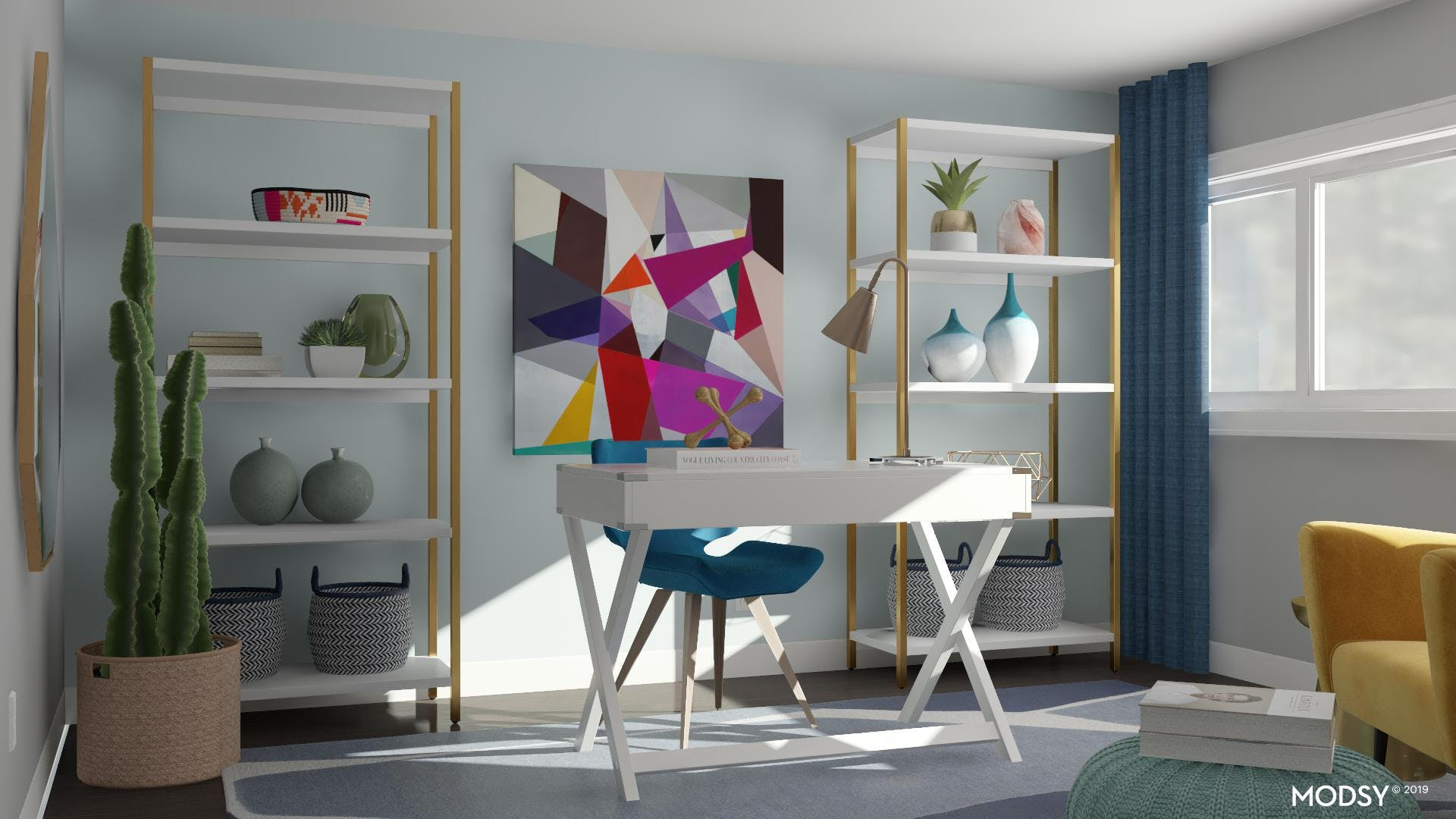 Chic Furnishings Paired With Brightly Colored Accents