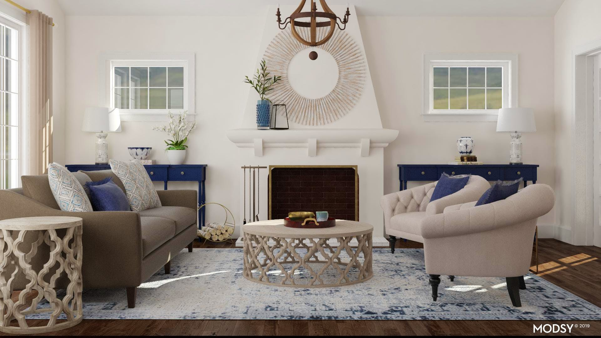 Traditional Living Room Decked In Blues