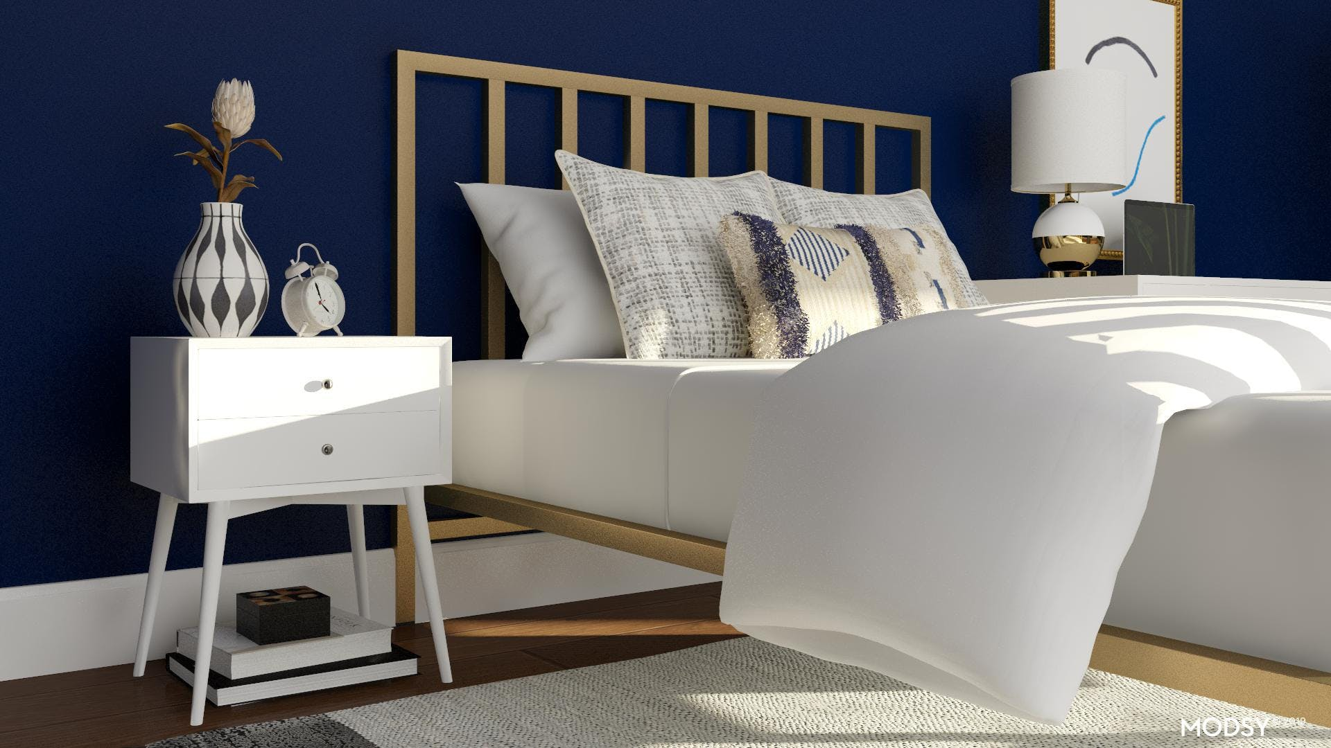 Modern Glam Navy & Gold Bedroom